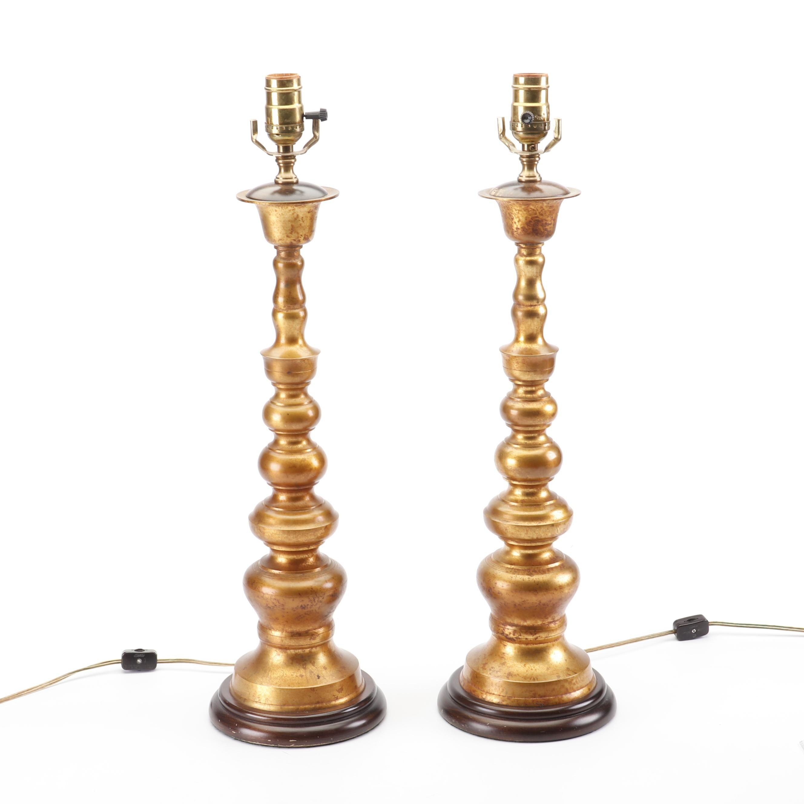 Gilded Metal Candlestick Table Lamps