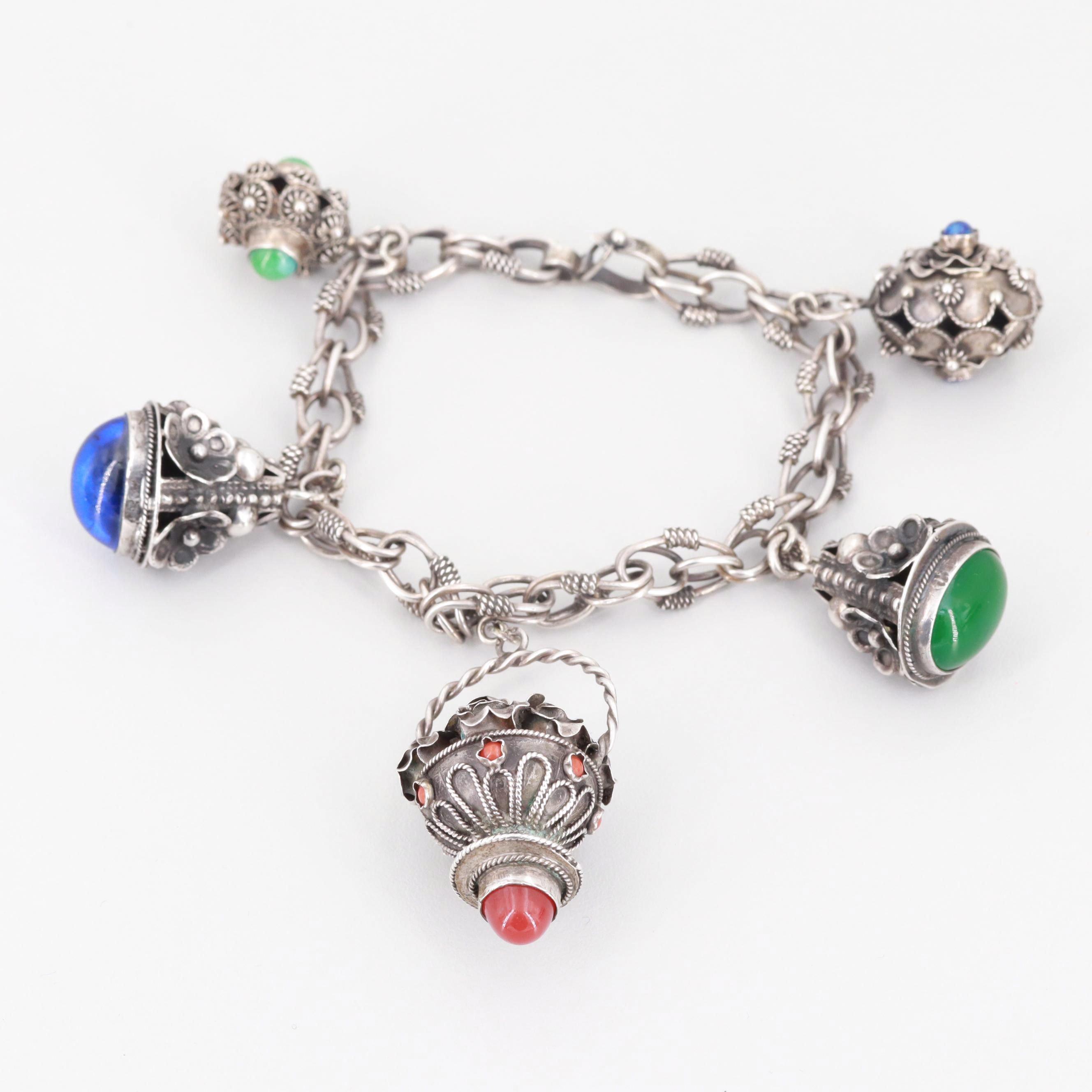 Etruscan Revival Style 800 Silver Glass Cannetille Charm Bracelet