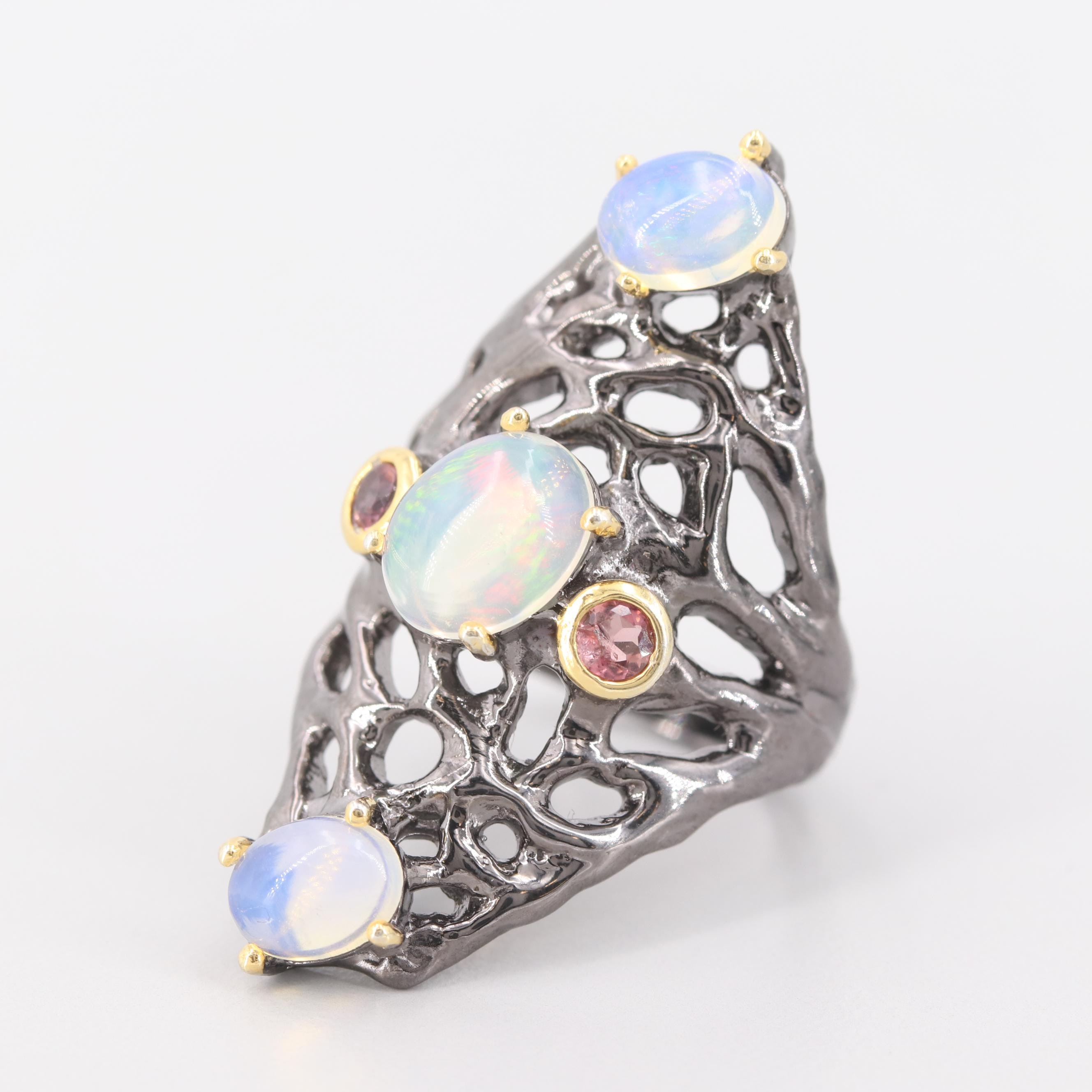 Sterling Silver Opal and Garnet Ring with Gold Wash Accents