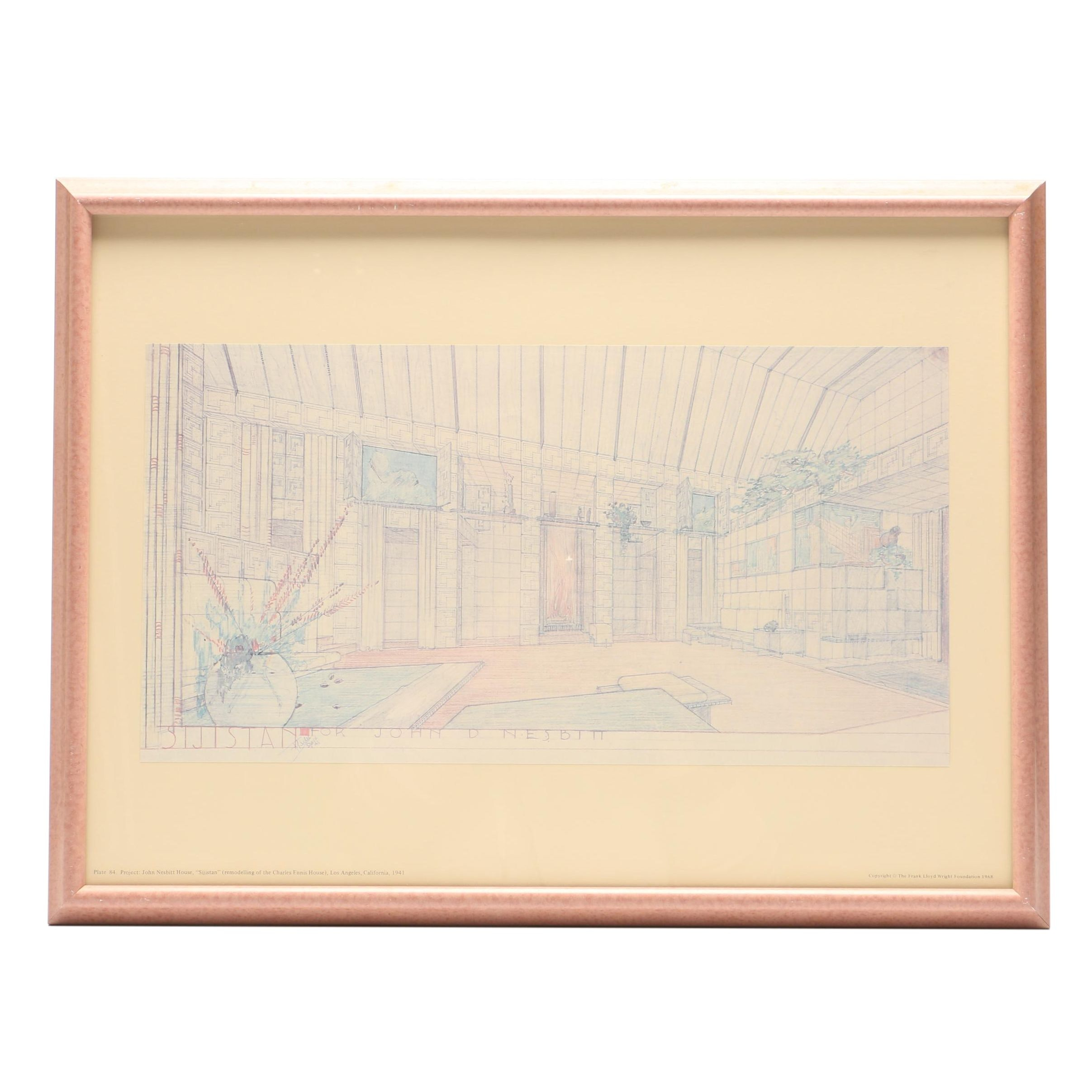 Frank Lloyd Wright Foundation Offset Lithograph Poster