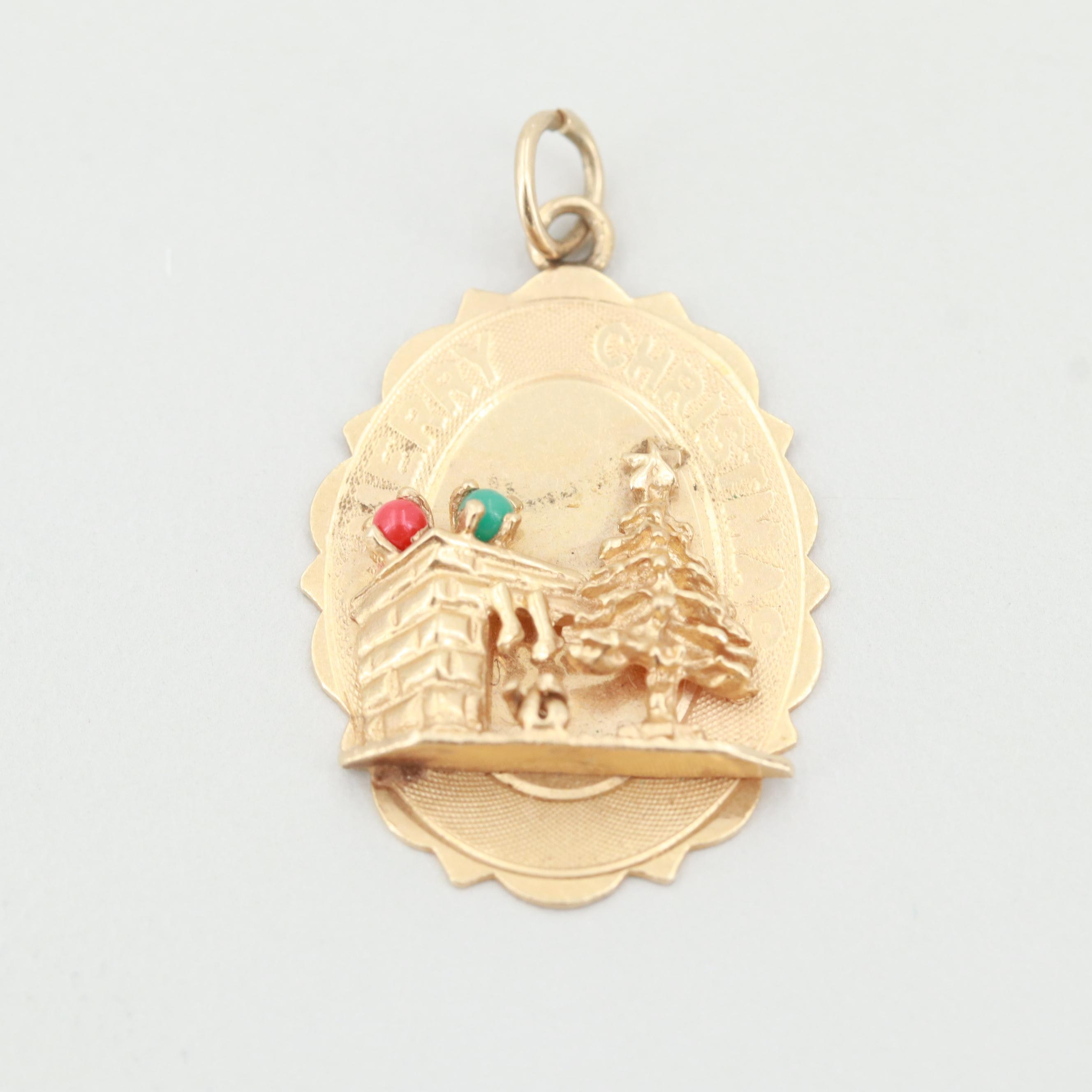 "14K Yellow Gold Imitation Coral and Turquoise ""Merry Christmas"" Charm"