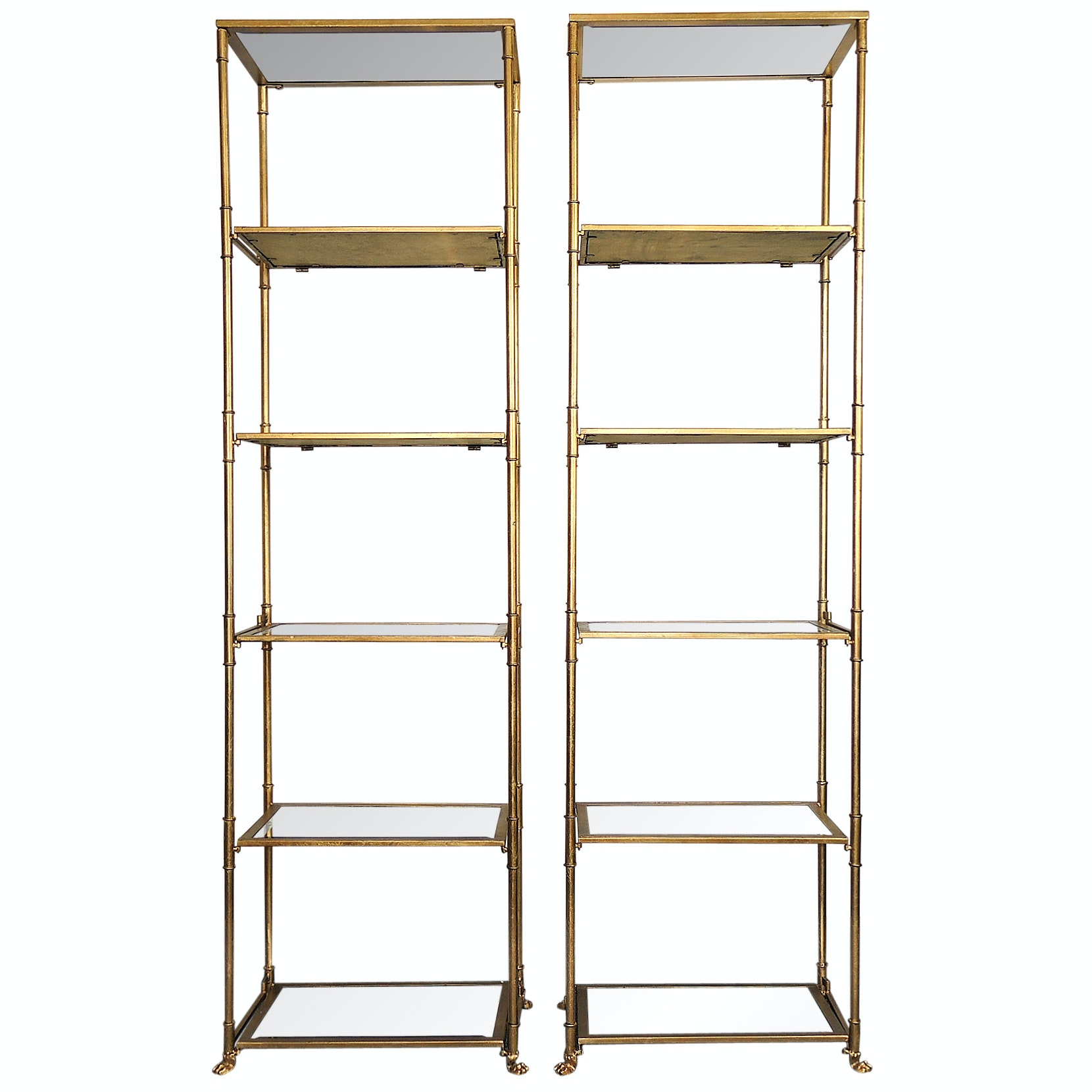 Mirror Shelf and Gold Toned Étagères
