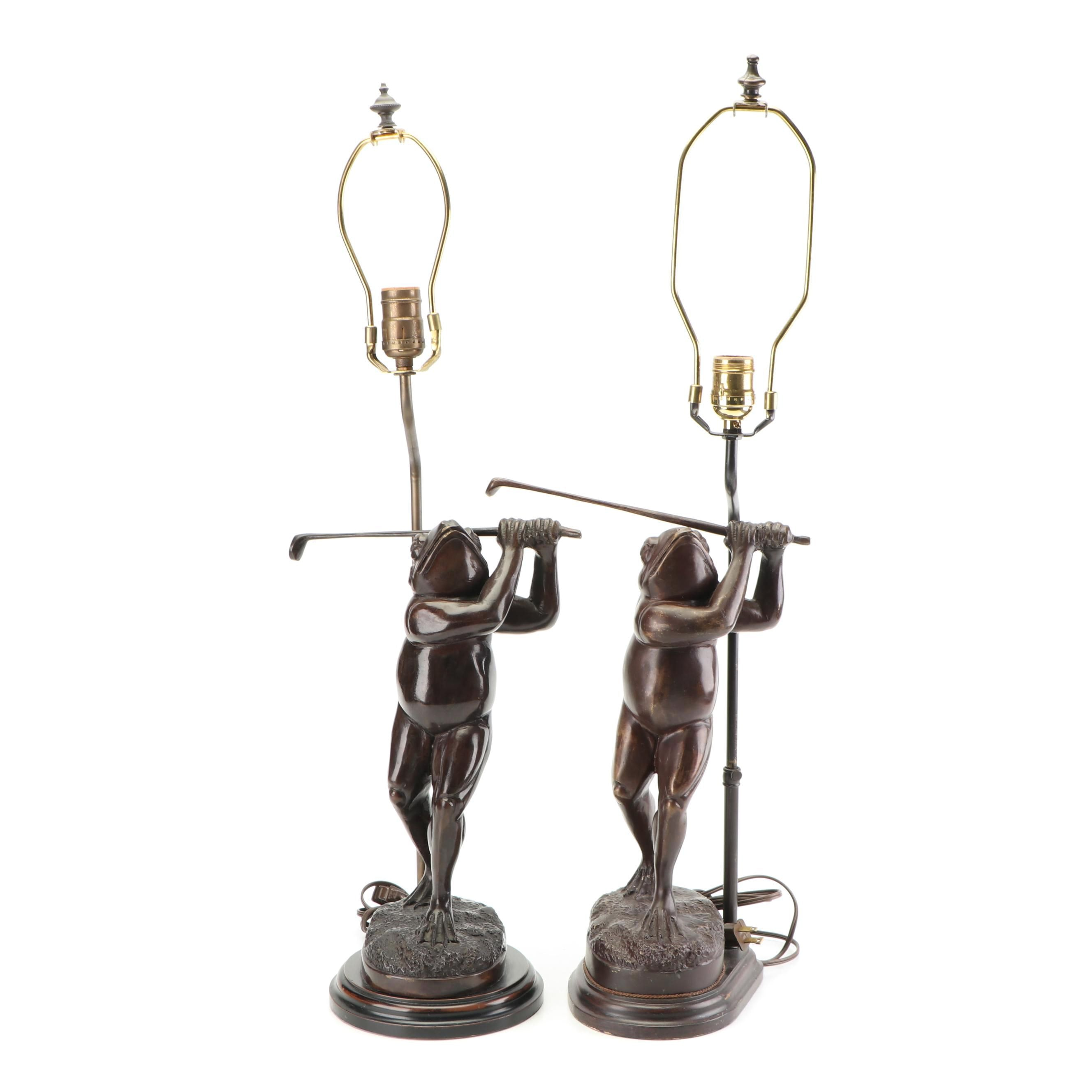 Pair of Cast Metal Frog Golfer Table Lamps