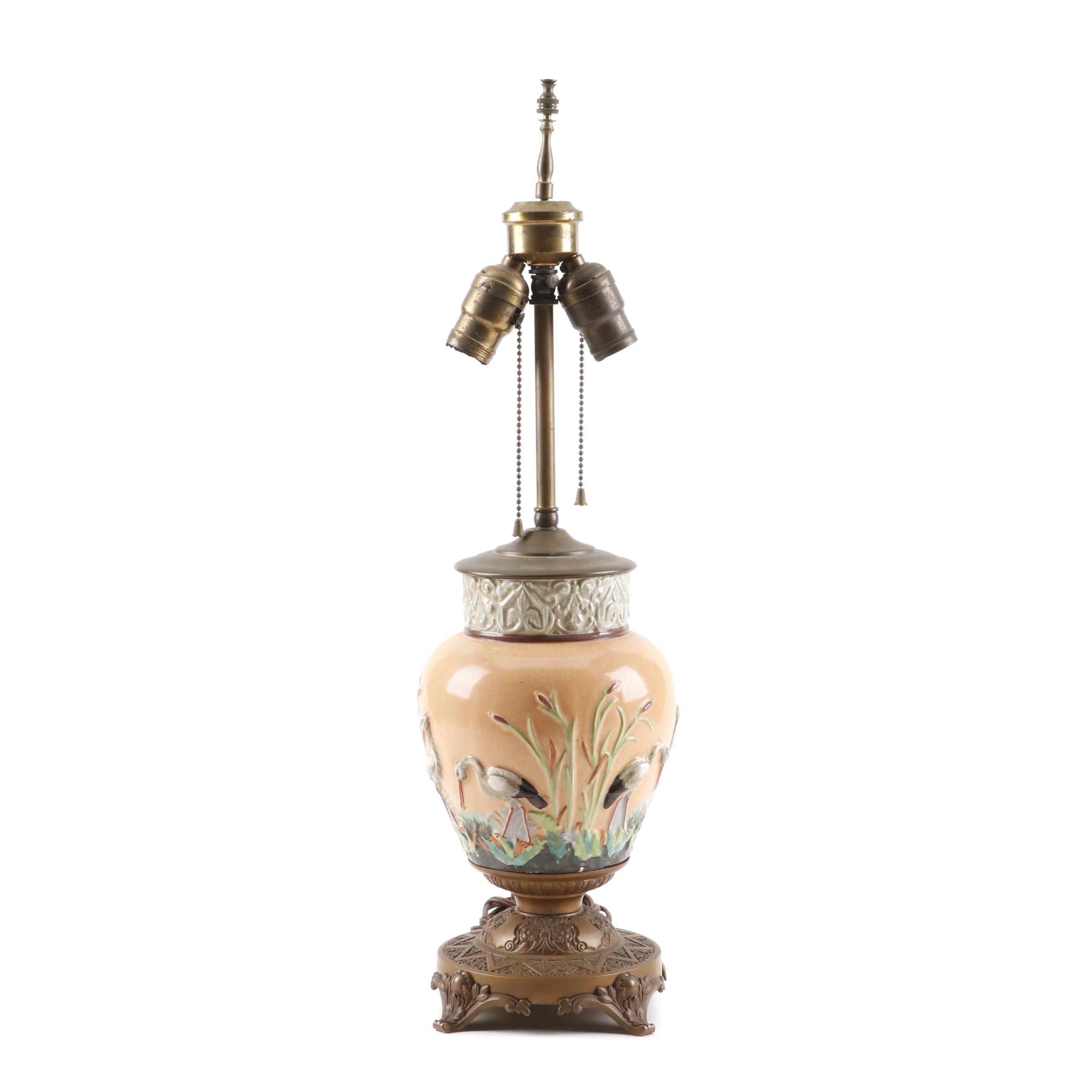 Ceramic Heron Table Lamp, 1920s