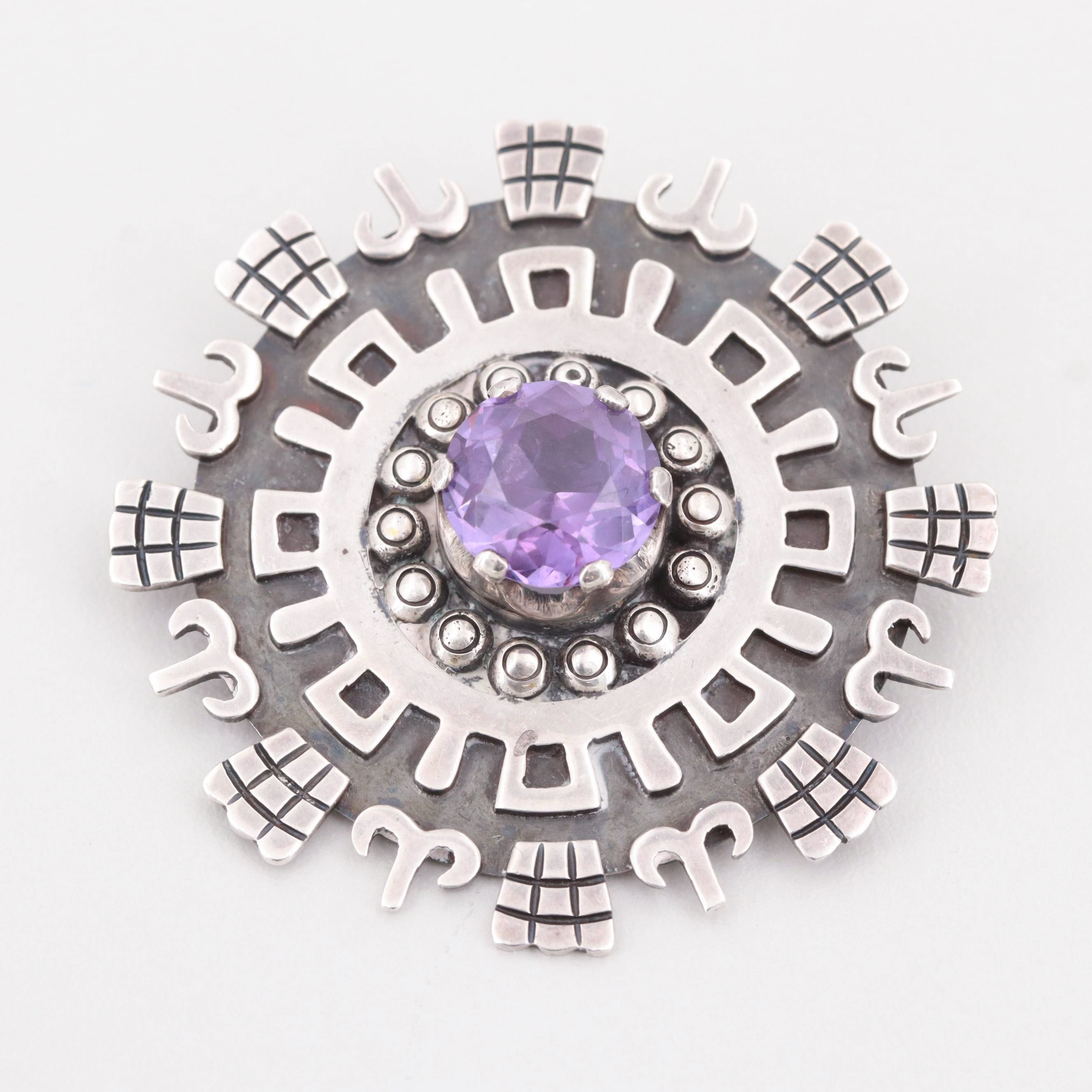 Mexican Talleres de Los Ballesteros Sterling Silver Synthetic Corundum Brooch