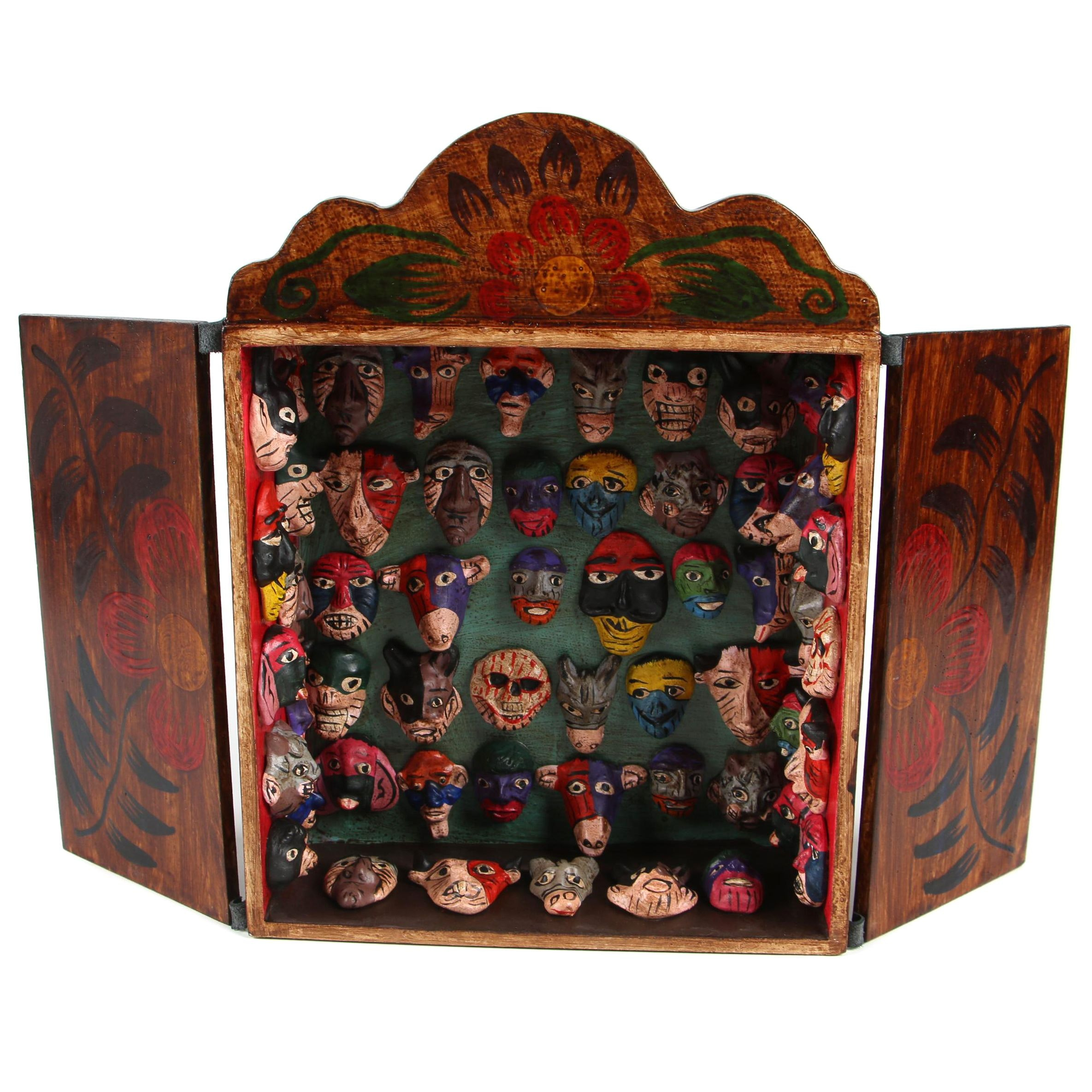 "Peruvian Handmade Wood and Ceramic Folk Art Retablo ""Mask Collection"""