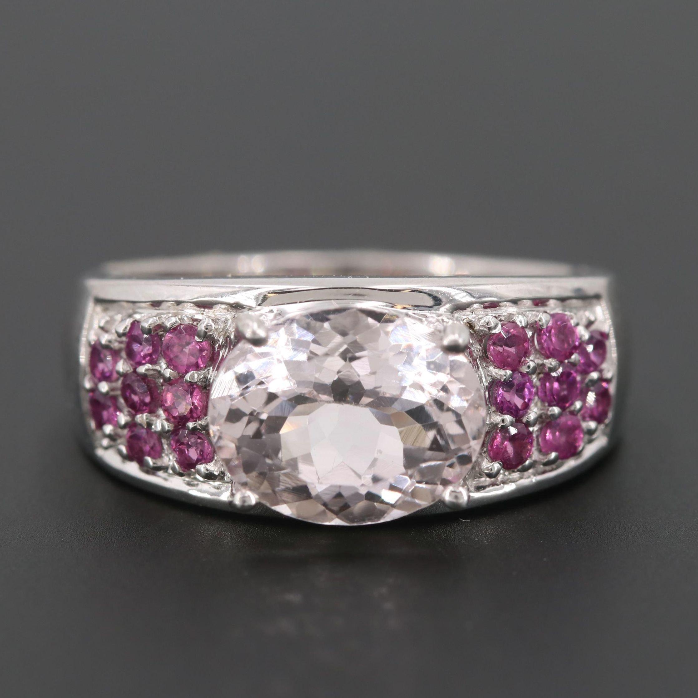 Sterling Silver Morganite and Rhodolite Garnet Ring