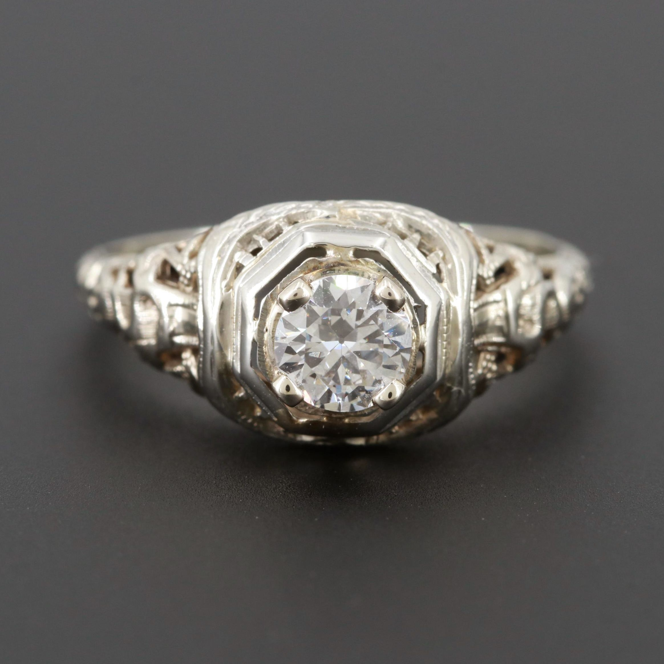 Late Edwardian 18K White Gold Diamond Openwork Ring