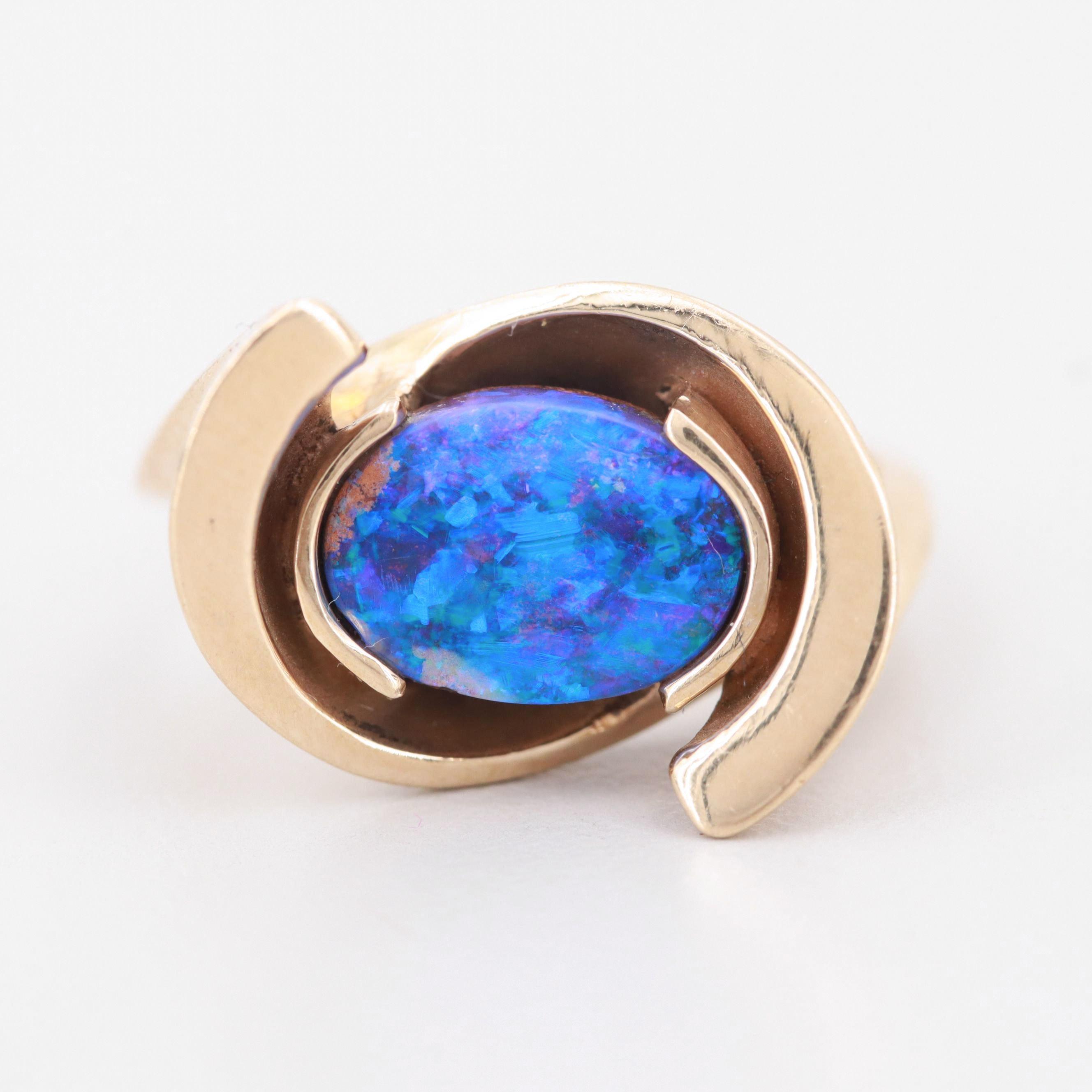 14K Yellow Gold Boulder Opal Ring