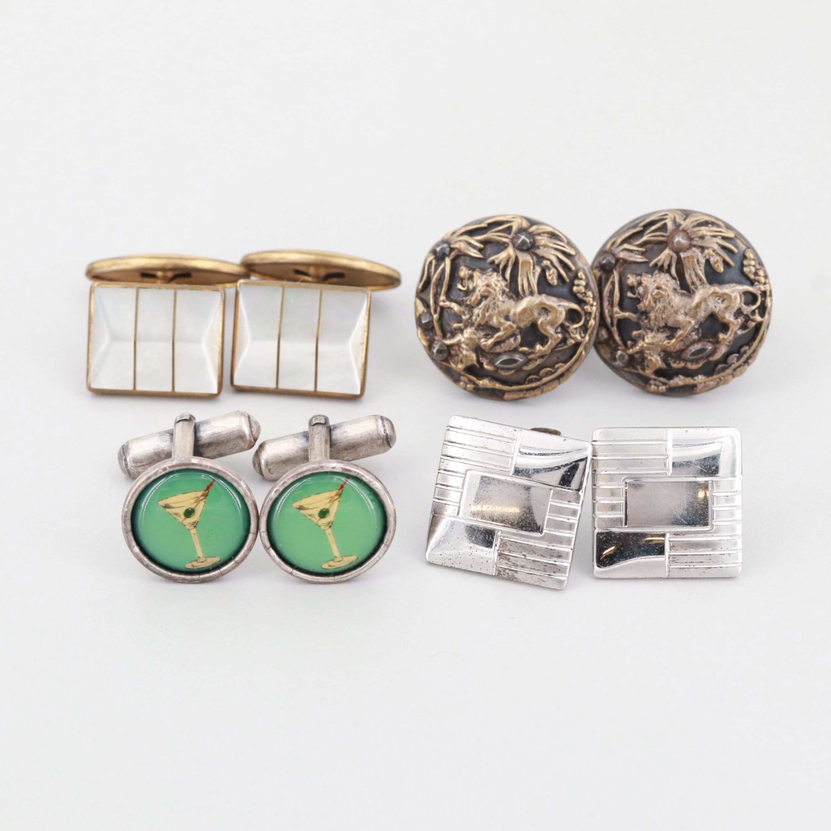 Vintage Collection of Cufflinks with Mother of Pearl and Enamel Accents