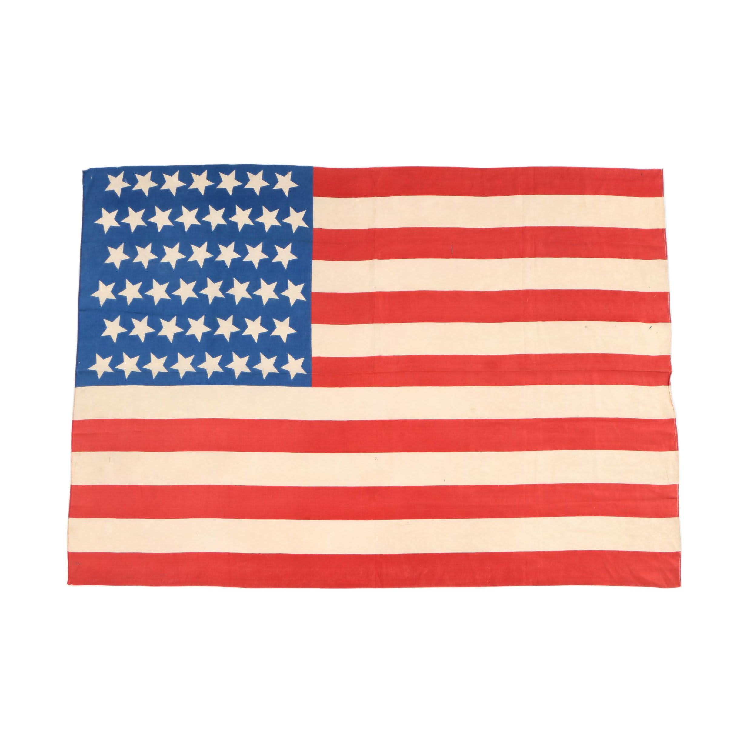 American Printed Silk Forty-Five Star Flag, 1896-1908