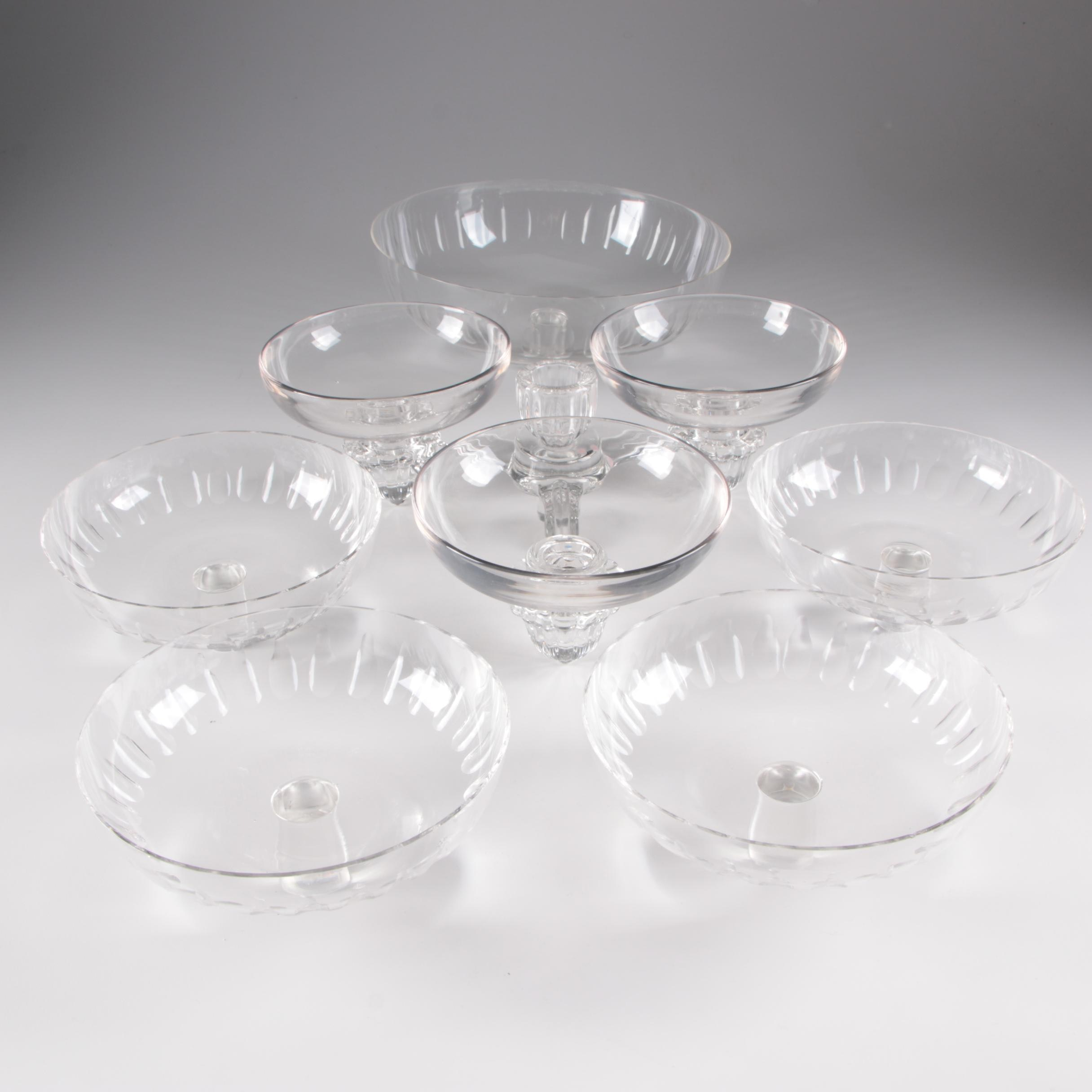 Art Glass Epergne with Additional Bowls