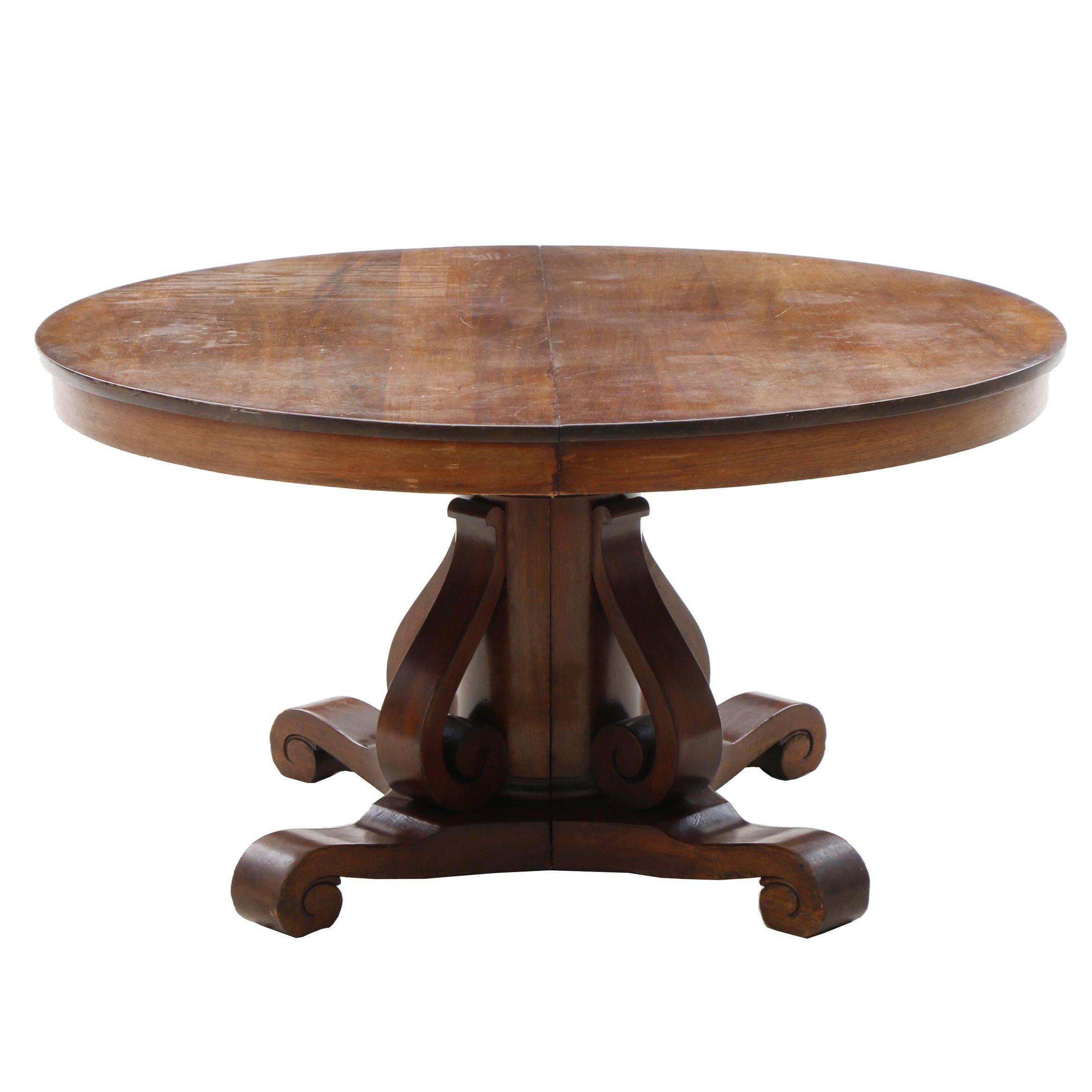 Empire Mahogany Dining Table, Mid 19th Century