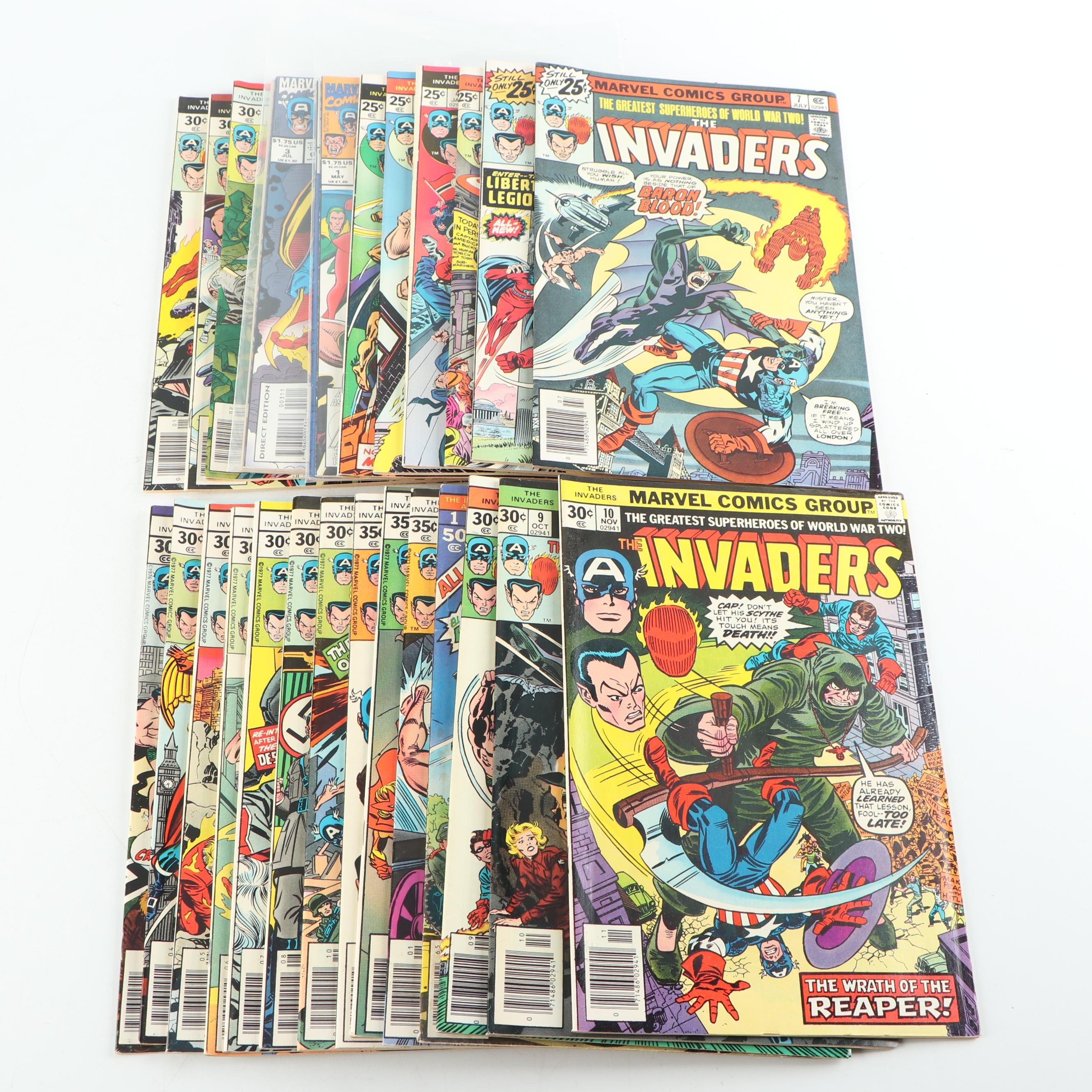 "Bronze Aged Marvel Comics Group ""The Invaders"" Comic Books"