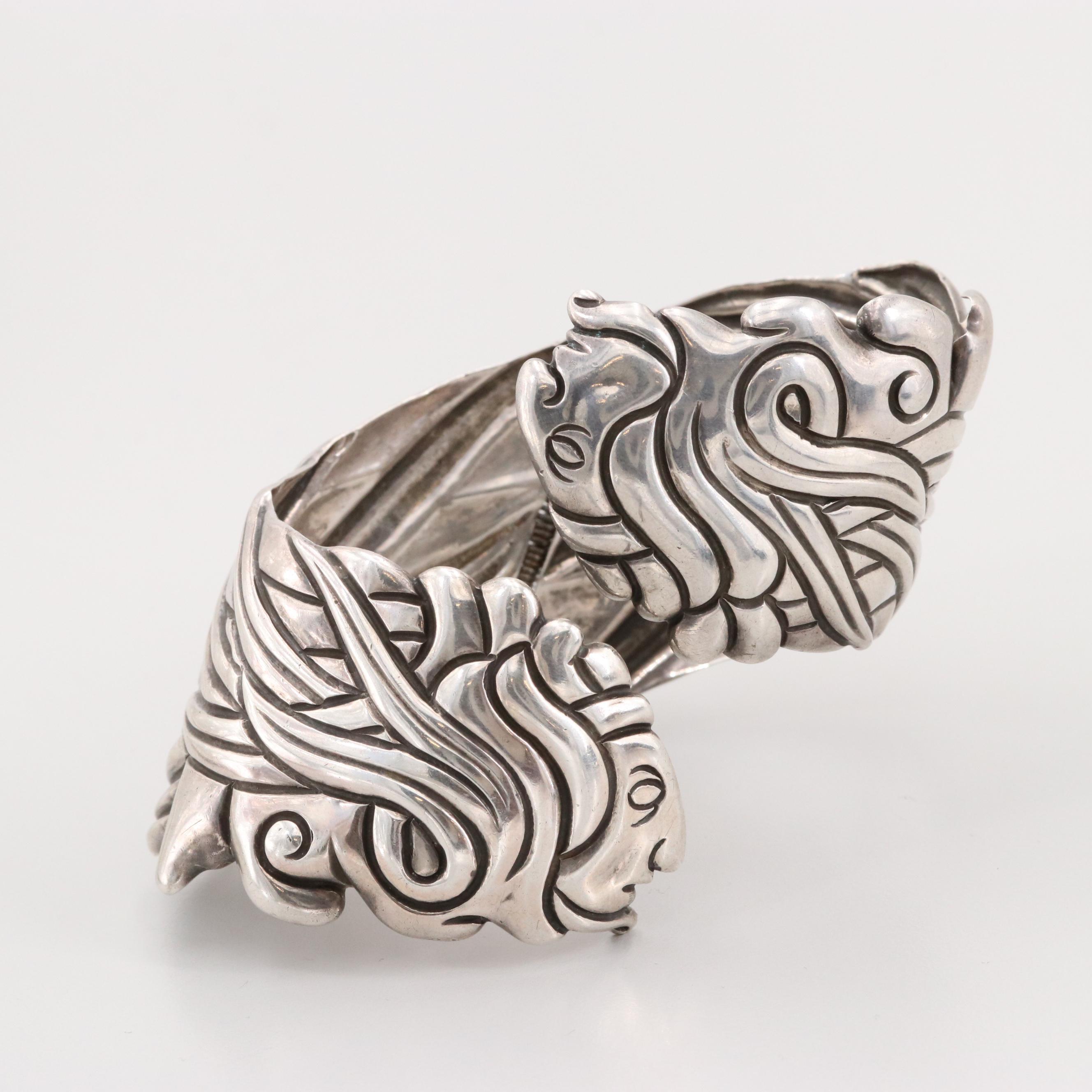 Vintage Taxco, Mexico Los Castillo Sterling Silver Clamper Bracelet