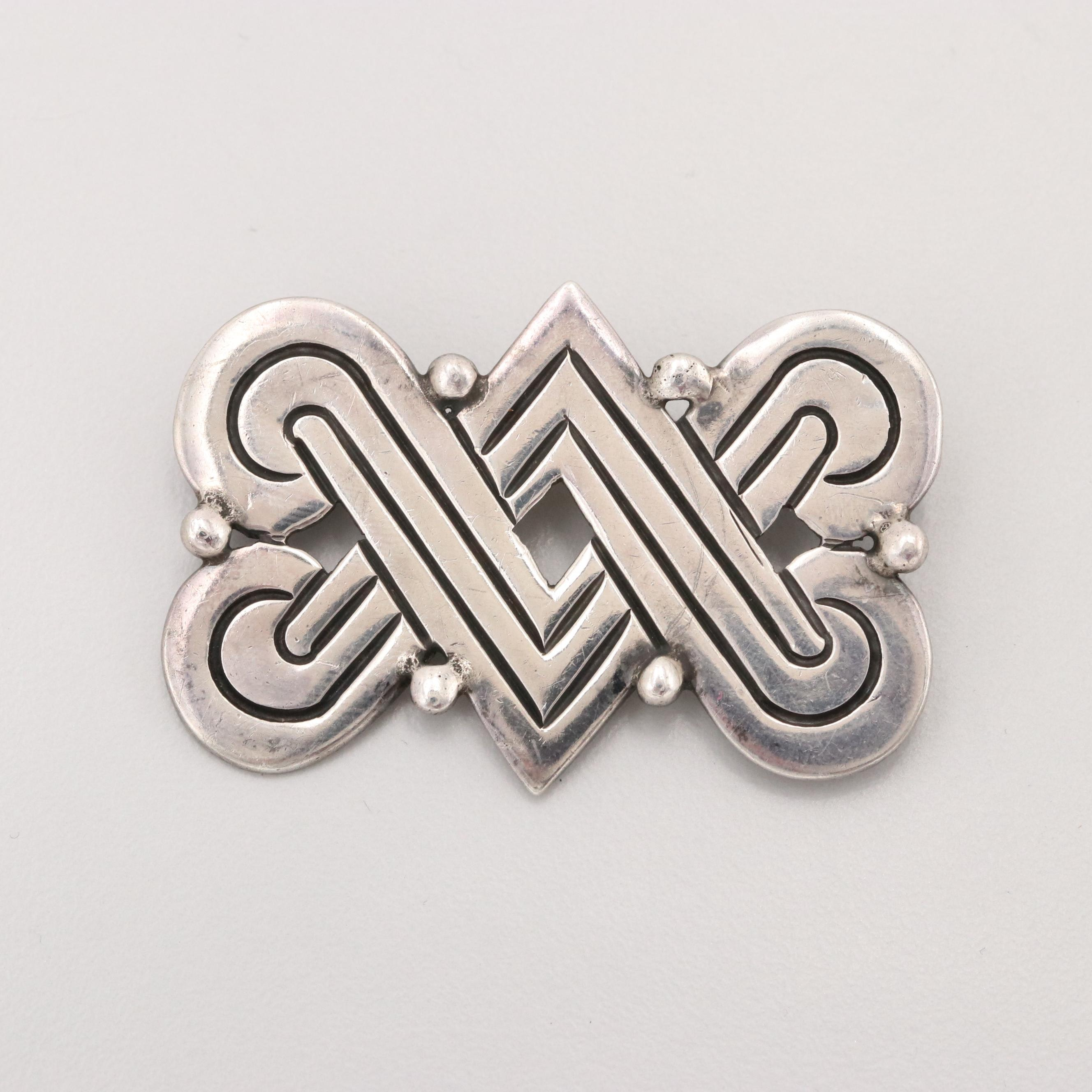 Circa 1940s Early Hector Aguilar 940 Silver Brooch from Taxco, Mexico