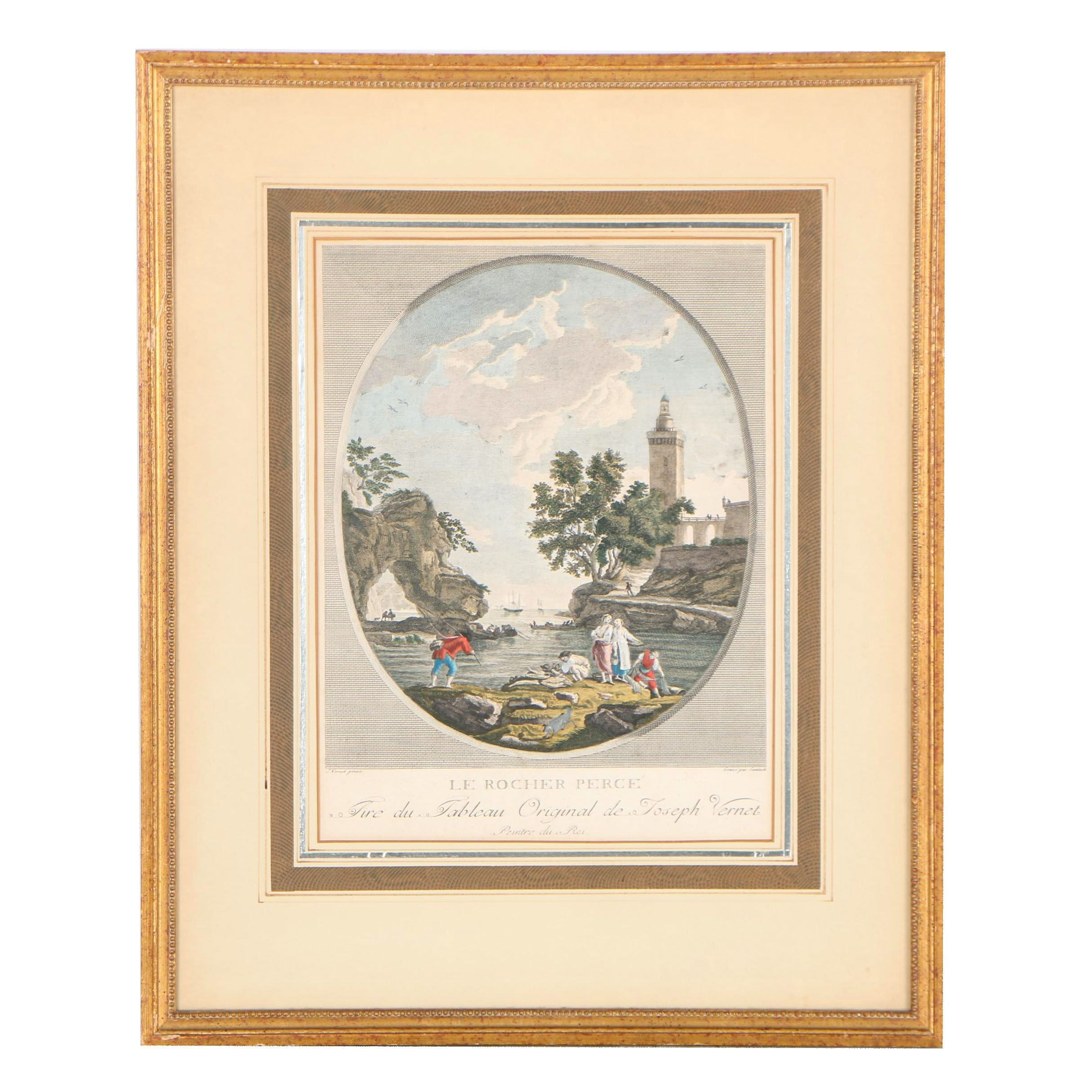 """Hand-Colored Engraving after Joseph Vernet """"Le Rocher Perce"""""""