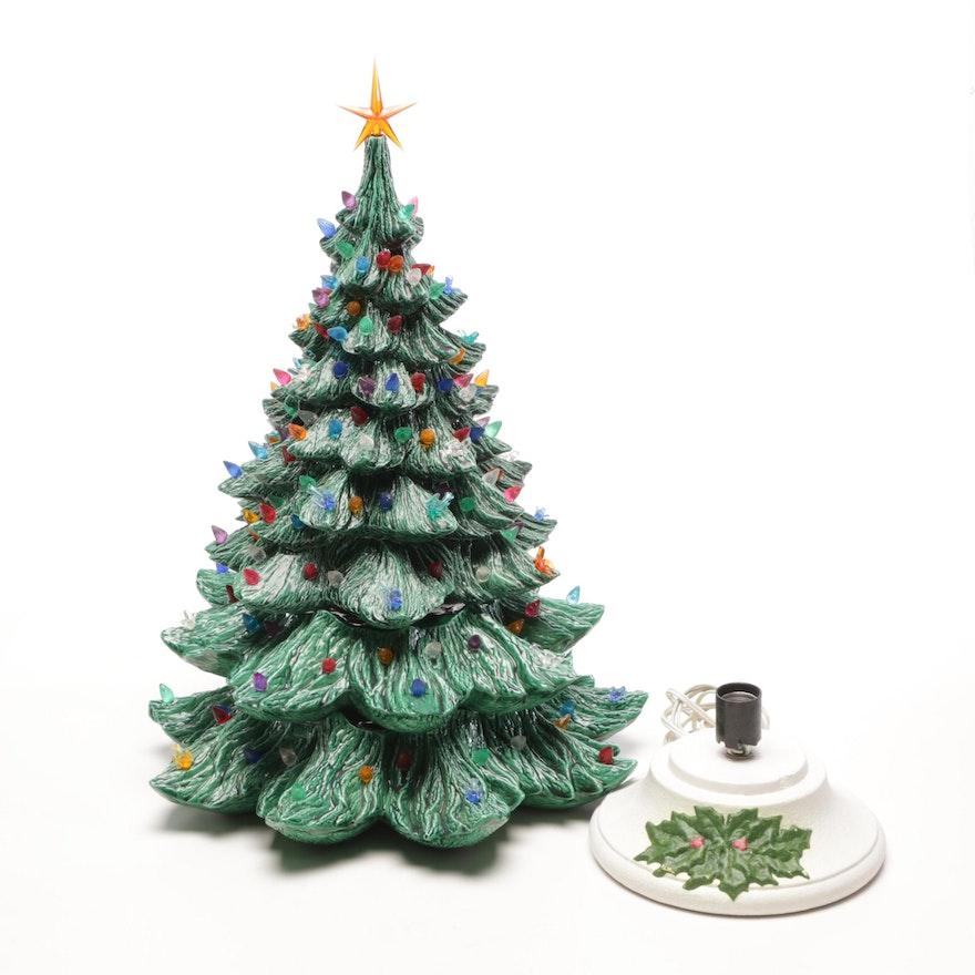 Light Up Ceramic Christmas Tree Tabletop Display