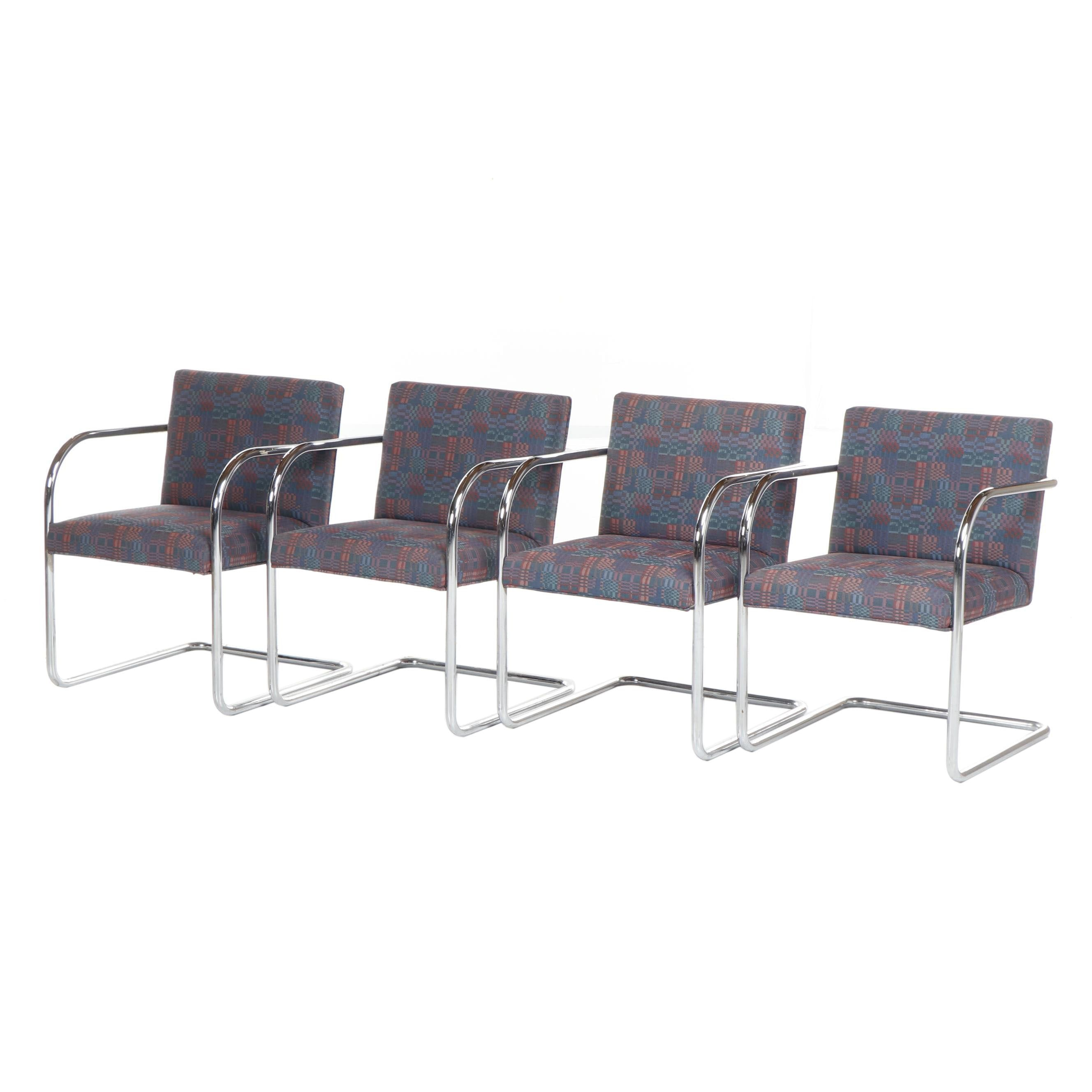 Chrome Cantilever Armchairs in the Style of Mies van der Rohe, Circa 1980