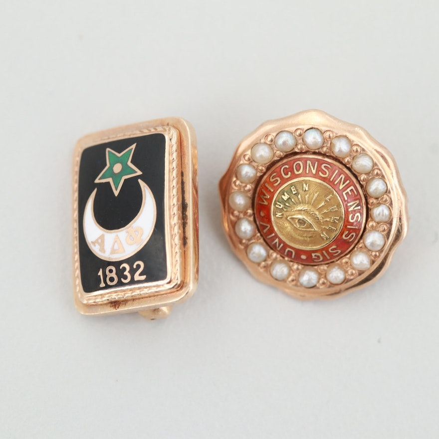 14090a1b6a6d 10K Yellow Gold U. of Wisconsin Seed Pearl and Alpha Delta Phi Enamel Lapel  Pins ...