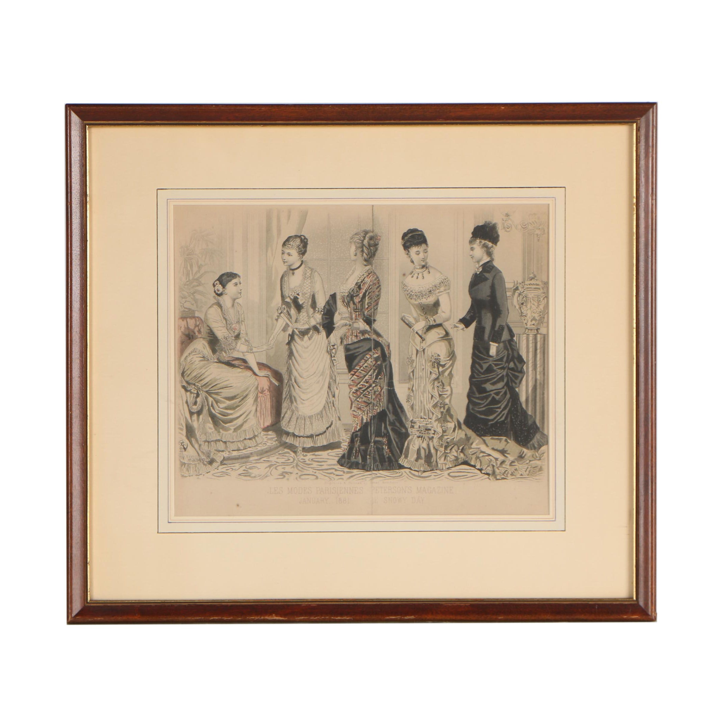 """Illman Brothers Hand-Colored Engraving """"Les Modes Parisiennes: The Snowy Day"""""""