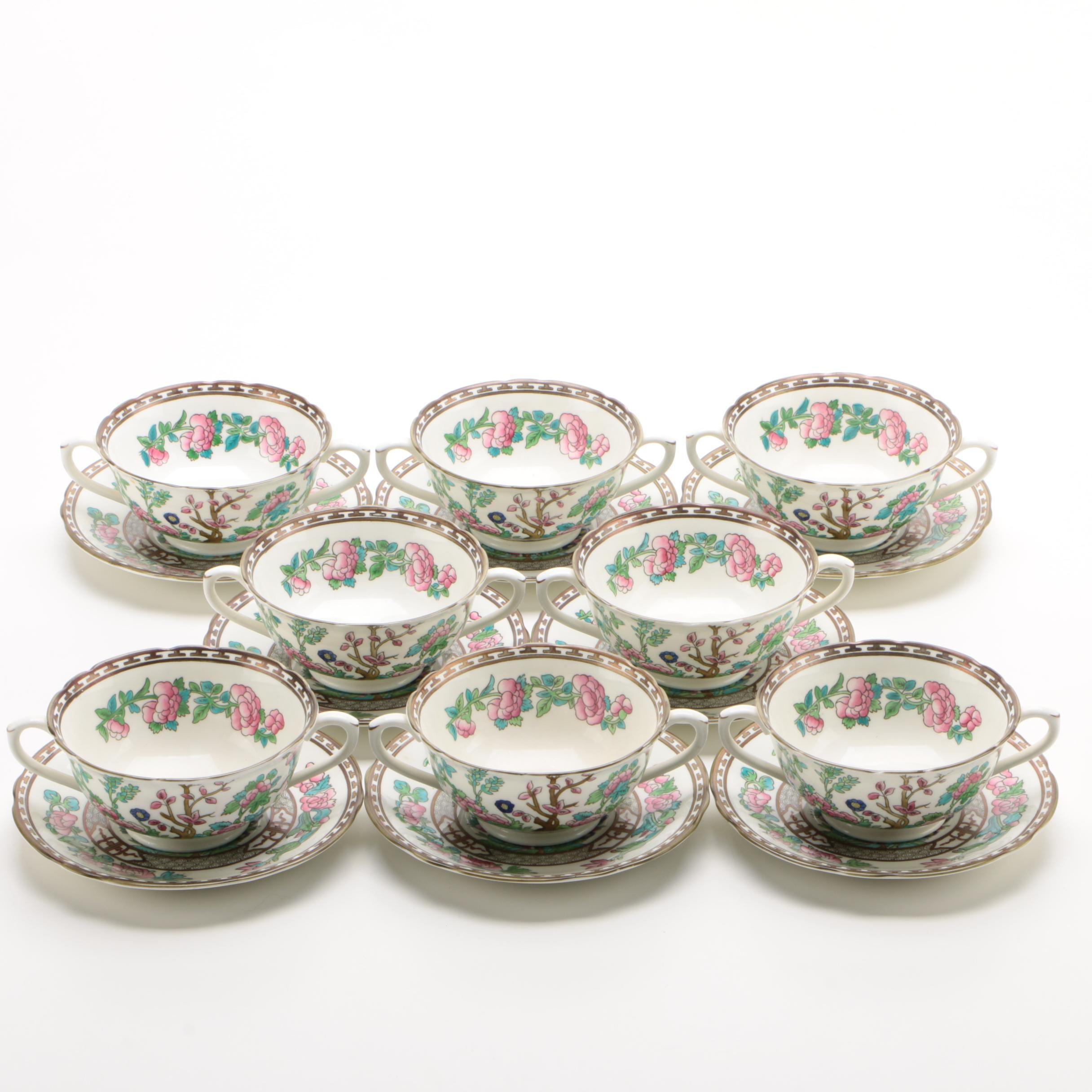 "Coalport ""Indian Tree"" Bone China Cream Soup Set for Eight"