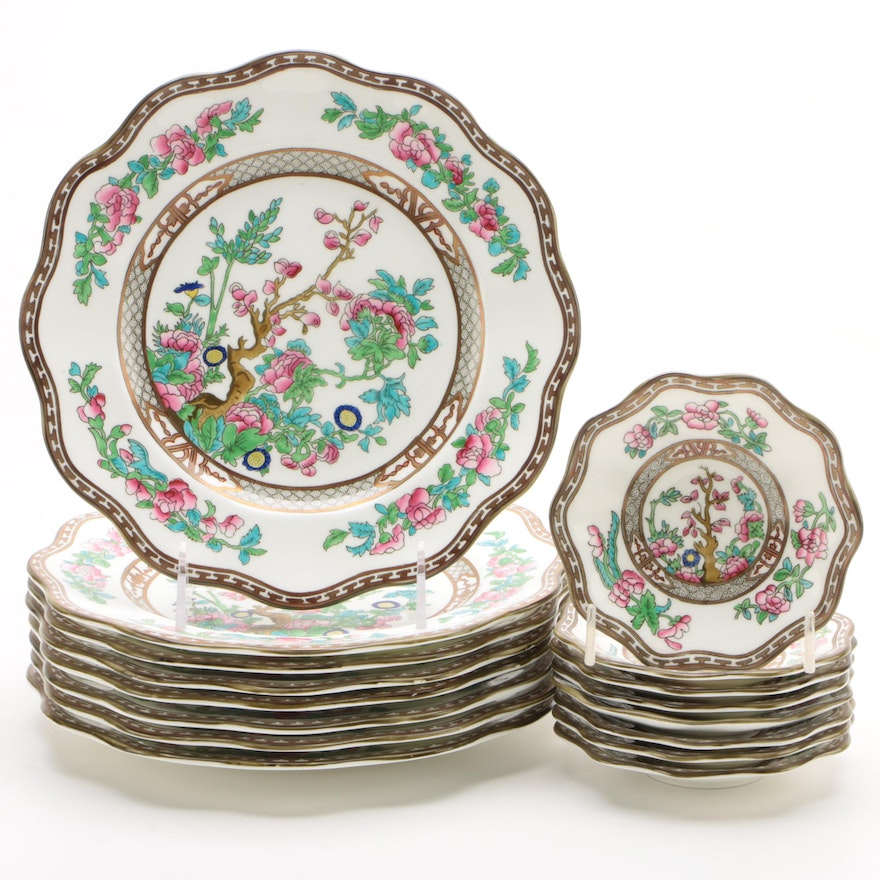 """Coalport """"Indian Tree"""" Bone China Luncheon Plates and Fruit Bowls for Eight"""