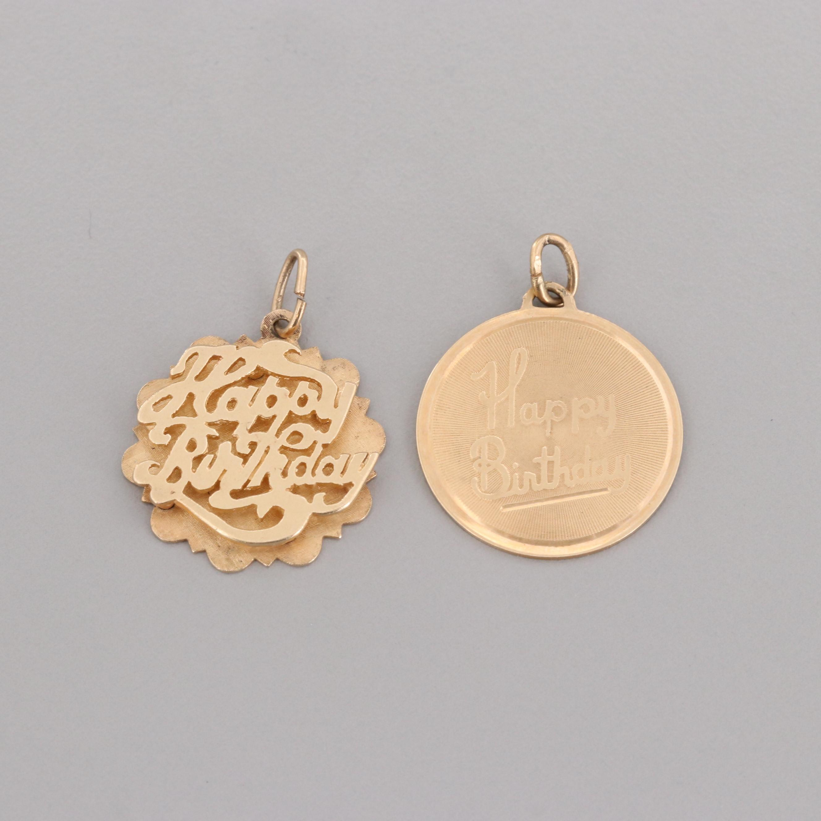 "14K Yellow Gold ""Happy Birthday"" Pendants"