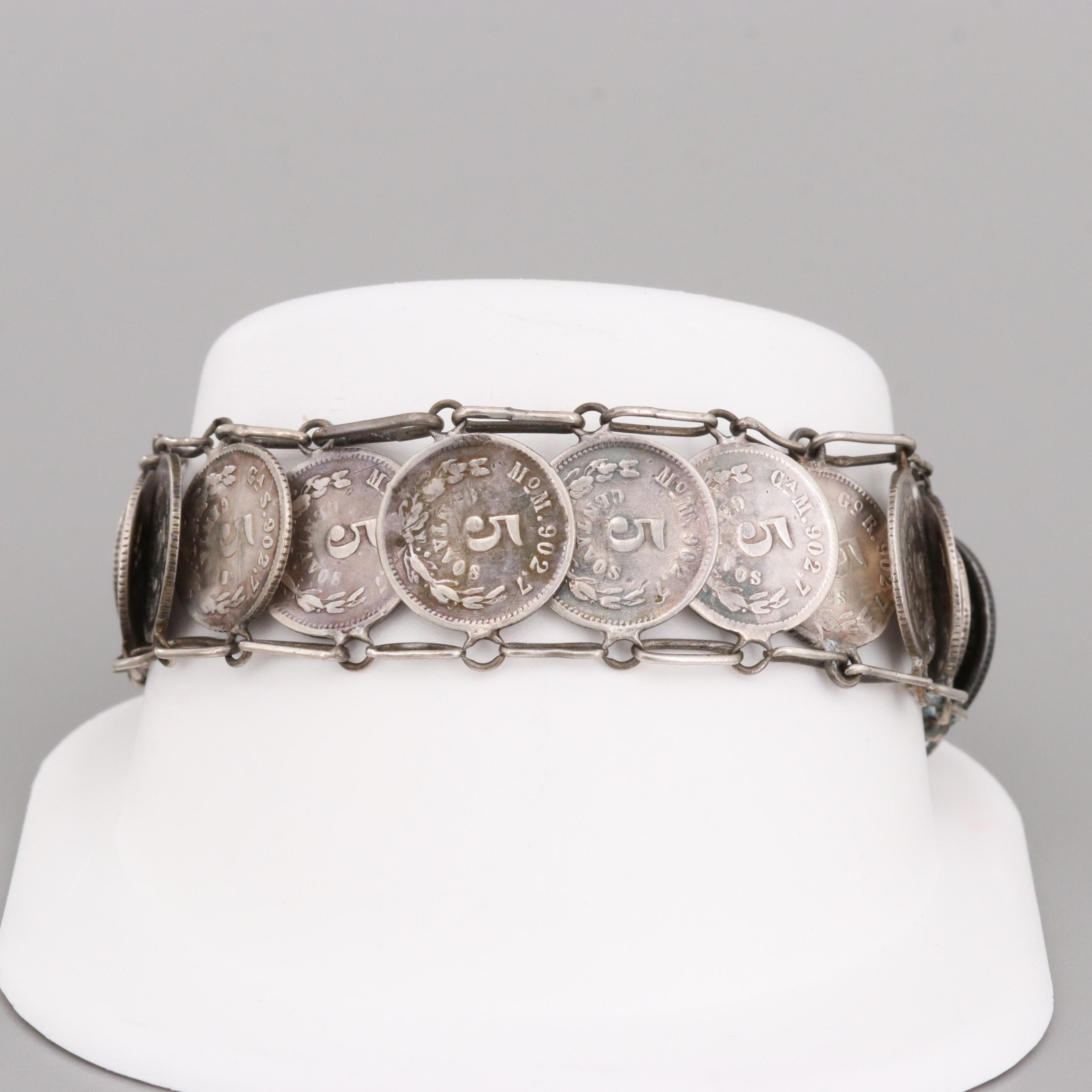 Mexican Sterling Silver Fourteen Centavos Coin Bracelet