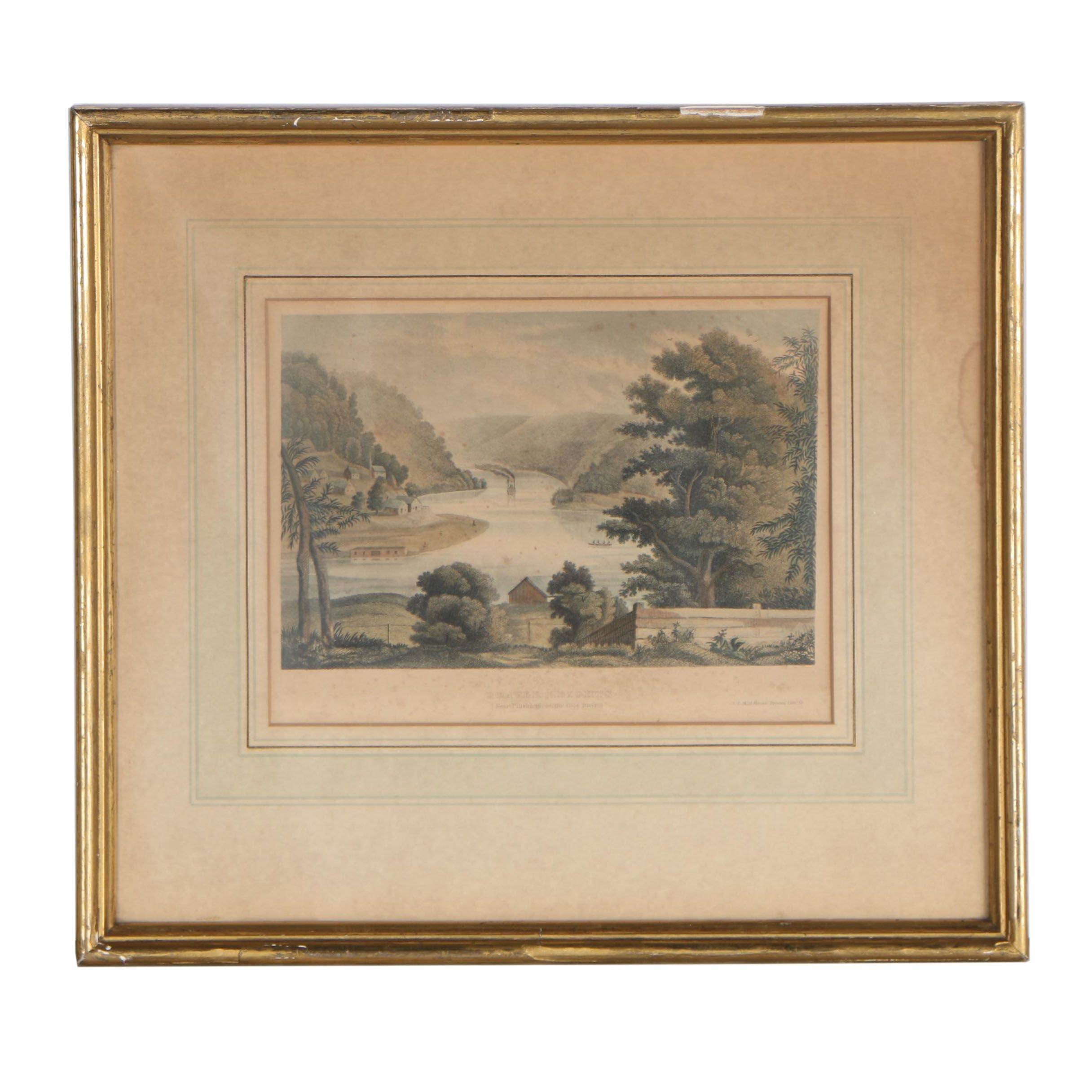 """Mid 19th Century Hand-Colored Engraving """"Beaver Heights"""""""
