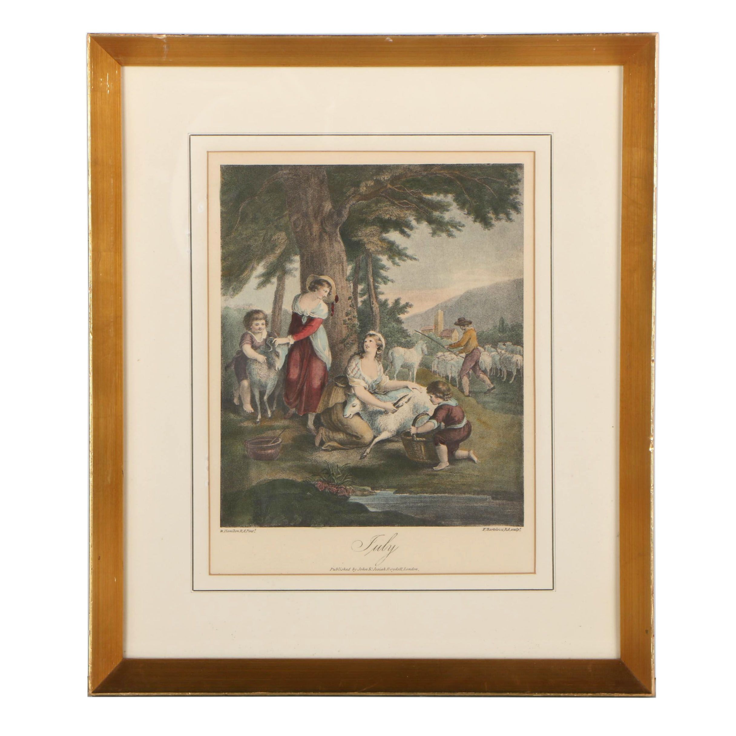 """Hand-Colored Etching after William Osborne Hamilton """"July"""""""