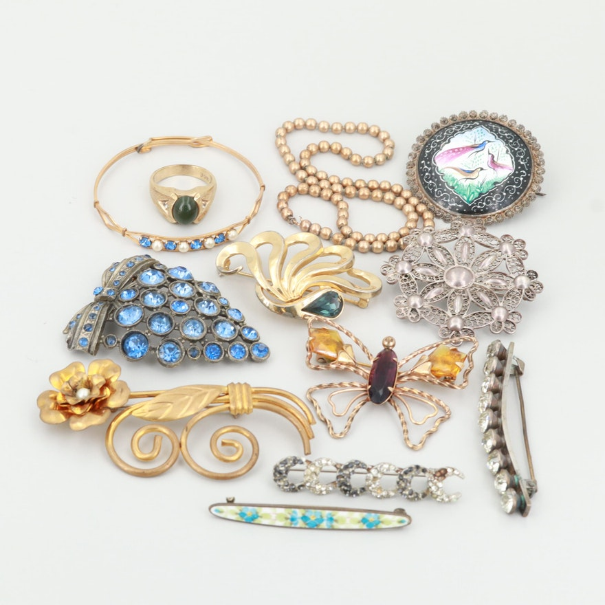 88b3c3280c4 Costume Jewelry Assortment Including Rhinestones and Three 800 Silver  Brooches : EBTH