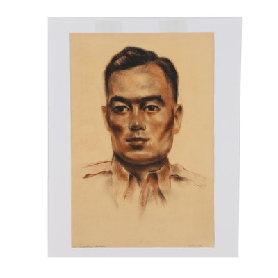 "Robert Whitmore Charcoal and Pastel Portrait ""Tobi Korenabeau Takahashi"""