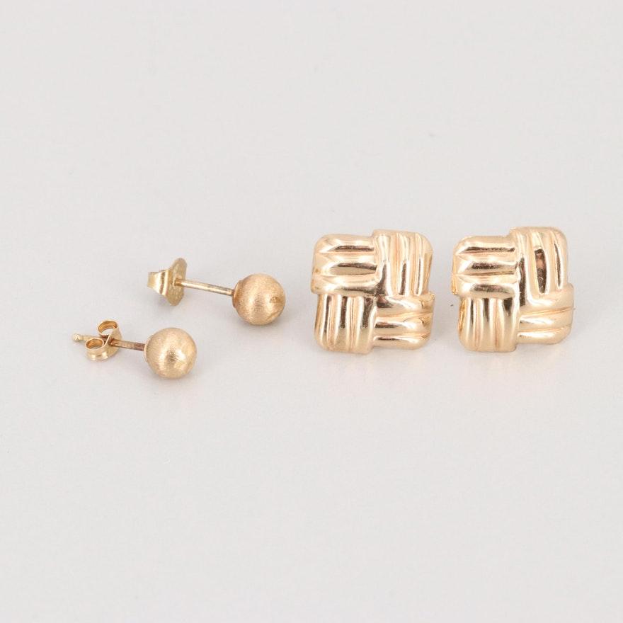 0b0d58ae5 14K Yellow Gold Stud Earrings : EBTH