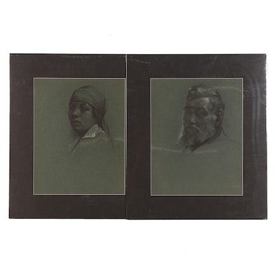 Robert Whitmore Charcoal and Conte Crayon Portraits of Man and Woman