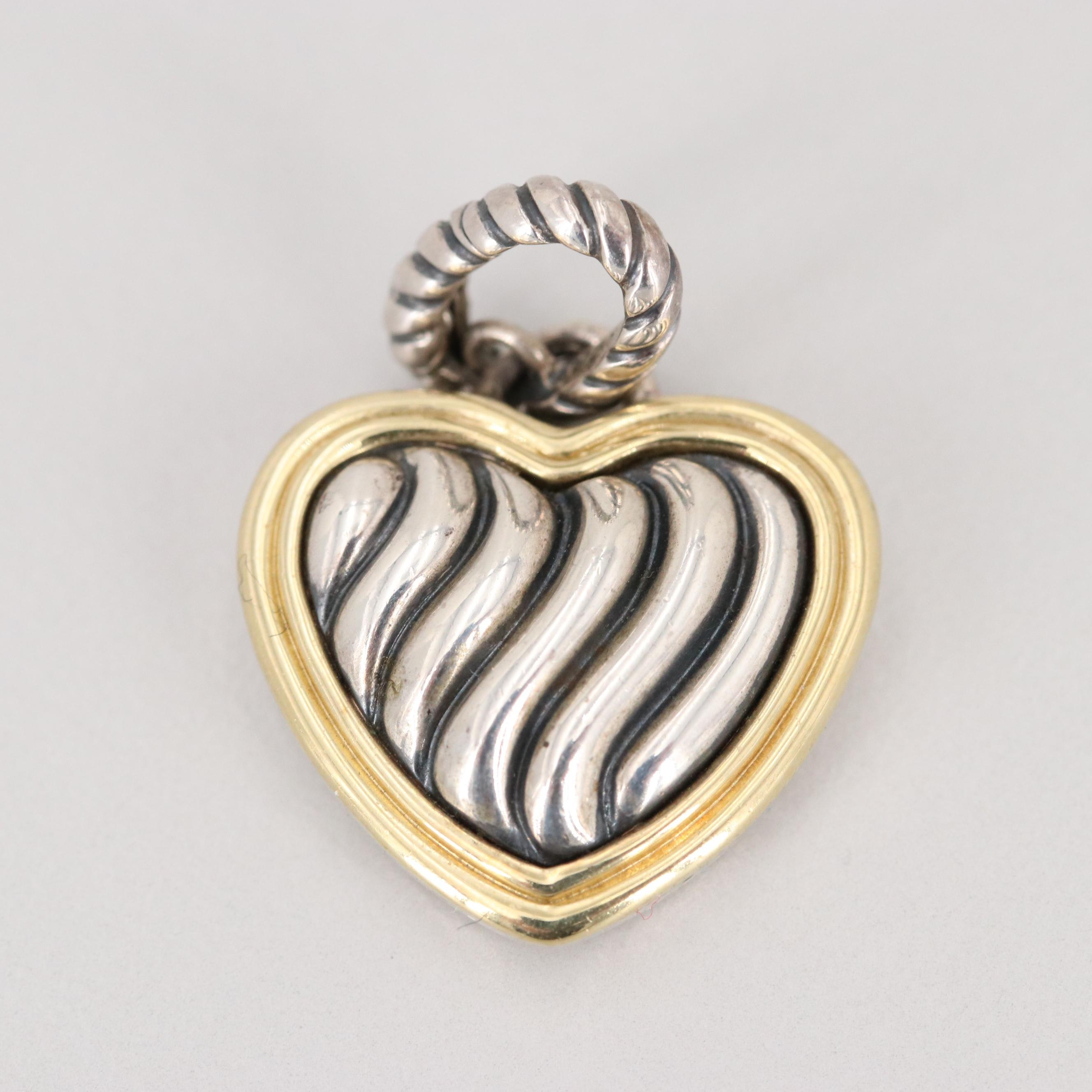 David Yurman Sterling Silver Heart Shaped Pendant with 18K Yellow Gold Accent