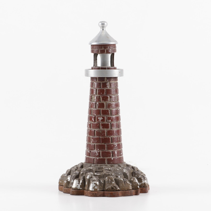 Painted Metal Lighthouse Form Night Light, Circa 1935