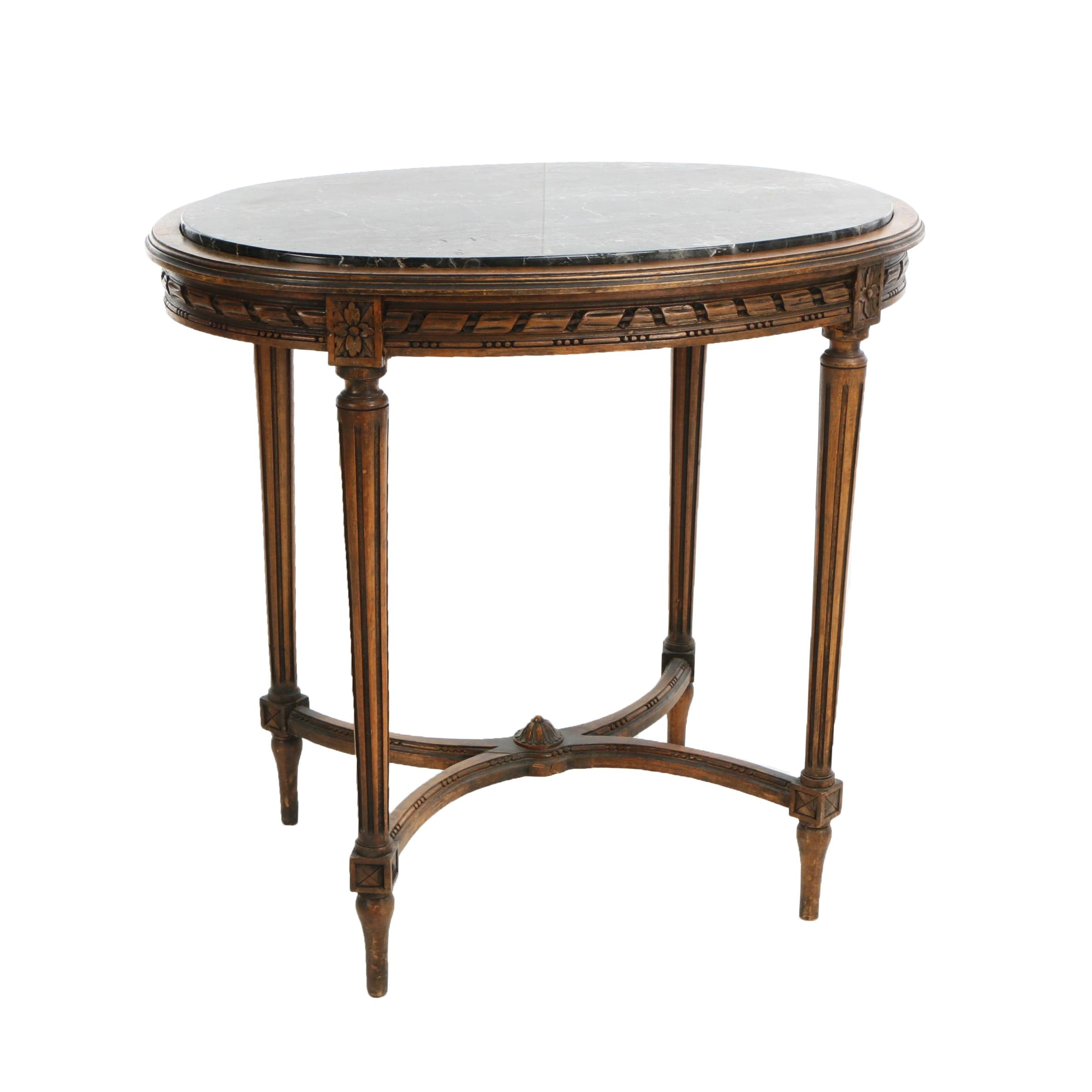 Lightolier of New York, Louis XVI Style Carved Walnut and Black Marble Gueridon