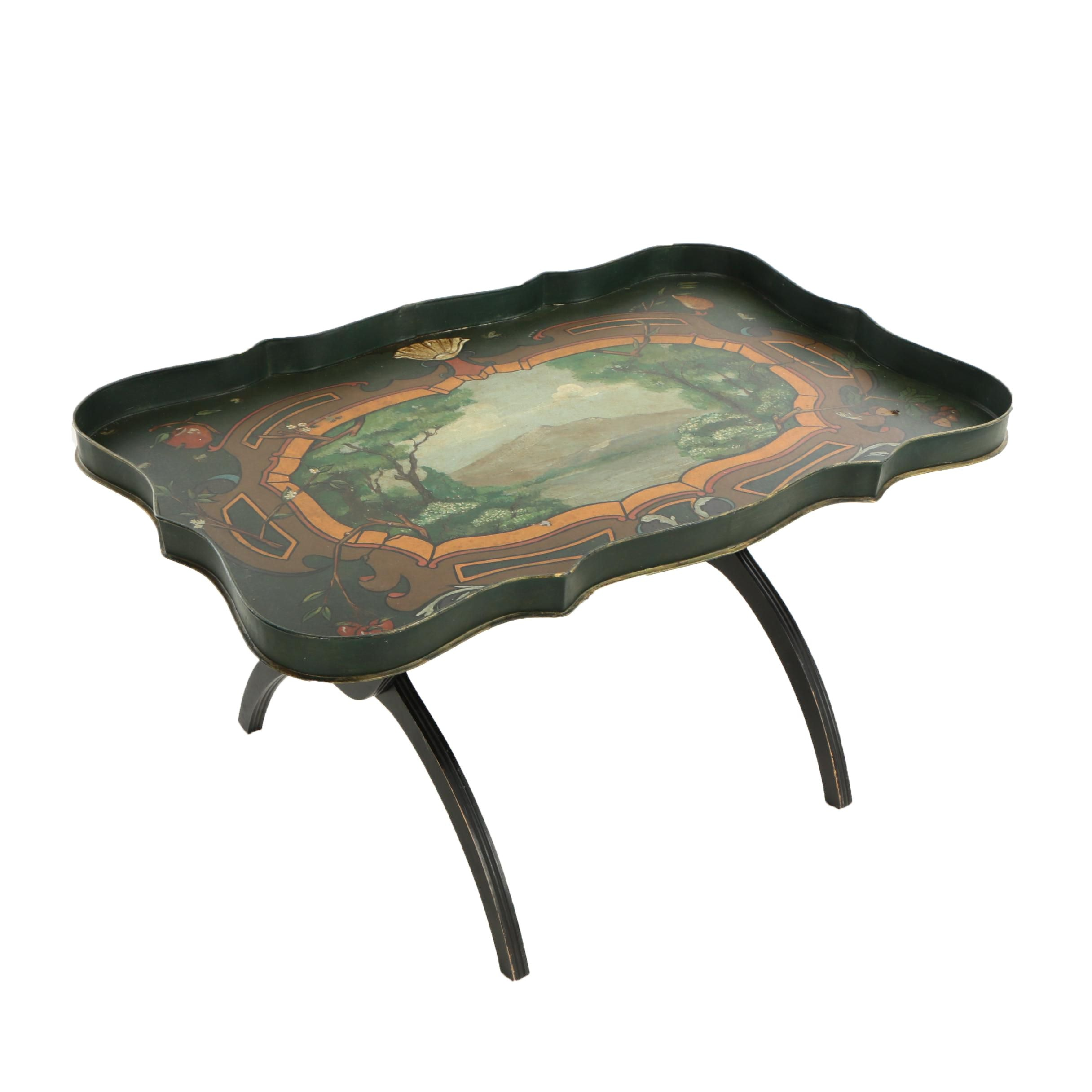 Tole Peinte Tray on Later Stand, 19th Century and Later