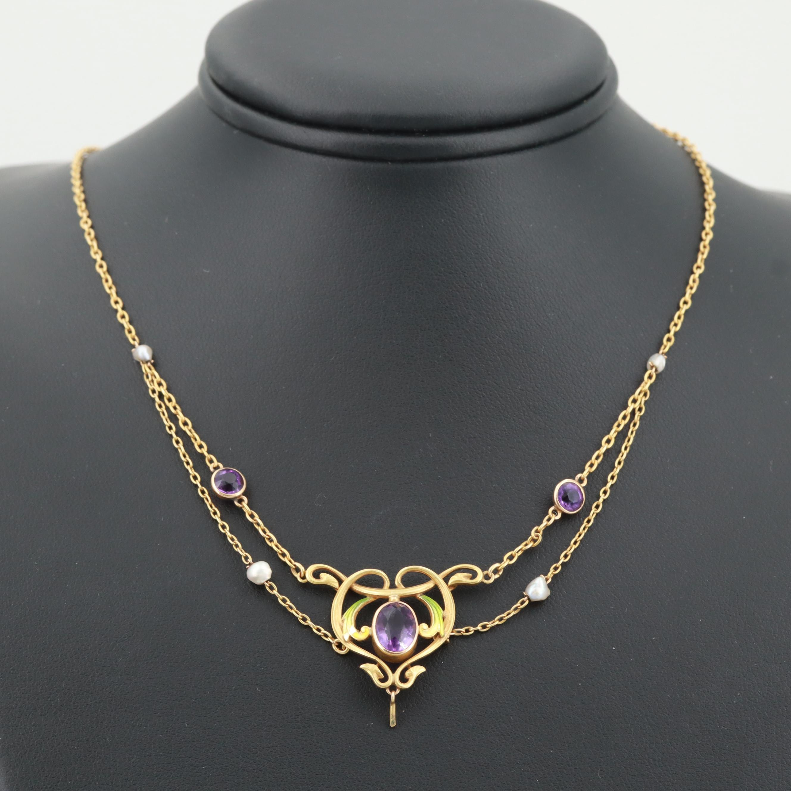 Art Nouveau 14K Yellow Gold Amethyst, Seed Pearl and Enamel Festoon Necklace