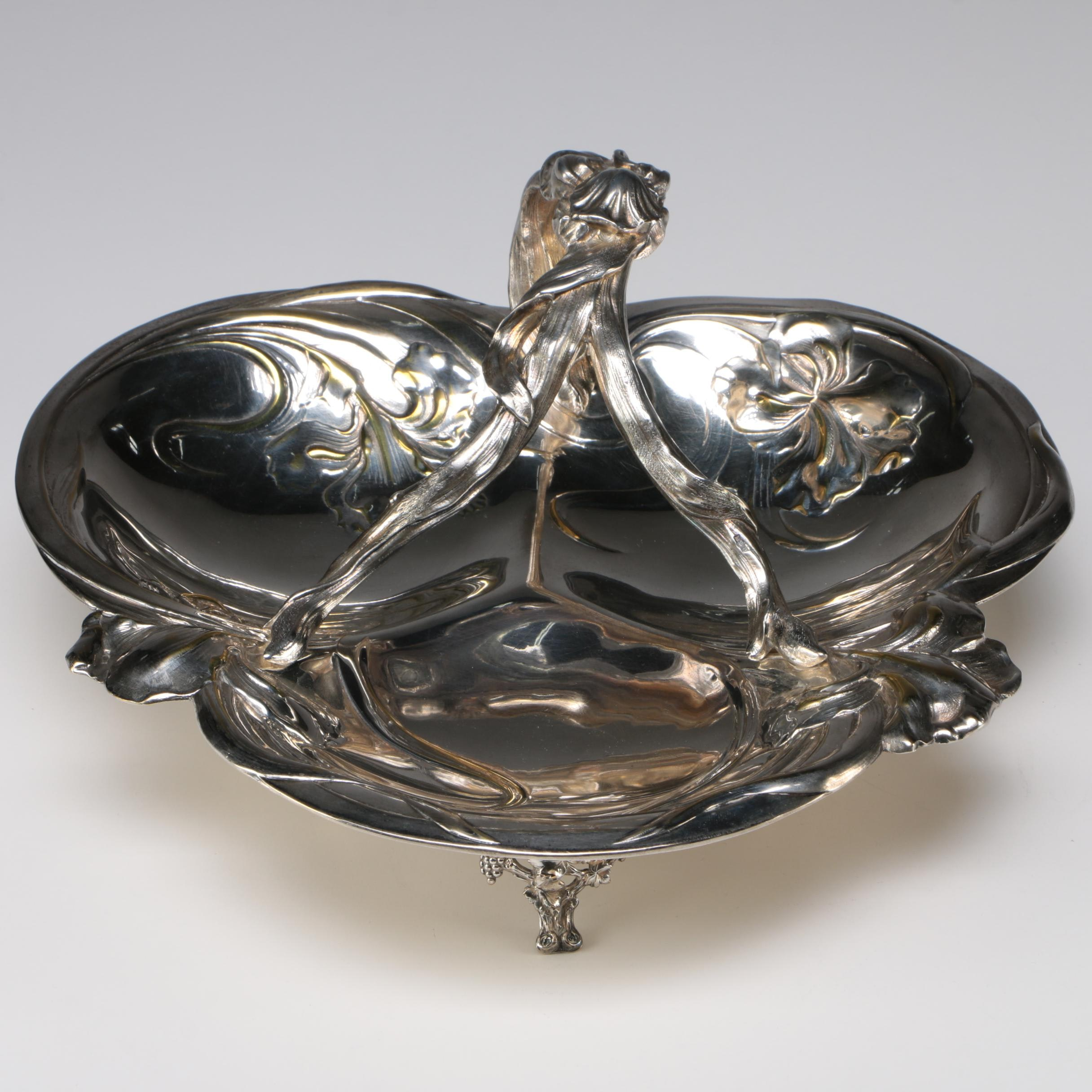 Victor Saglier French Art Nouveau Silver Plate Iris Serving Bowl, Late 19th