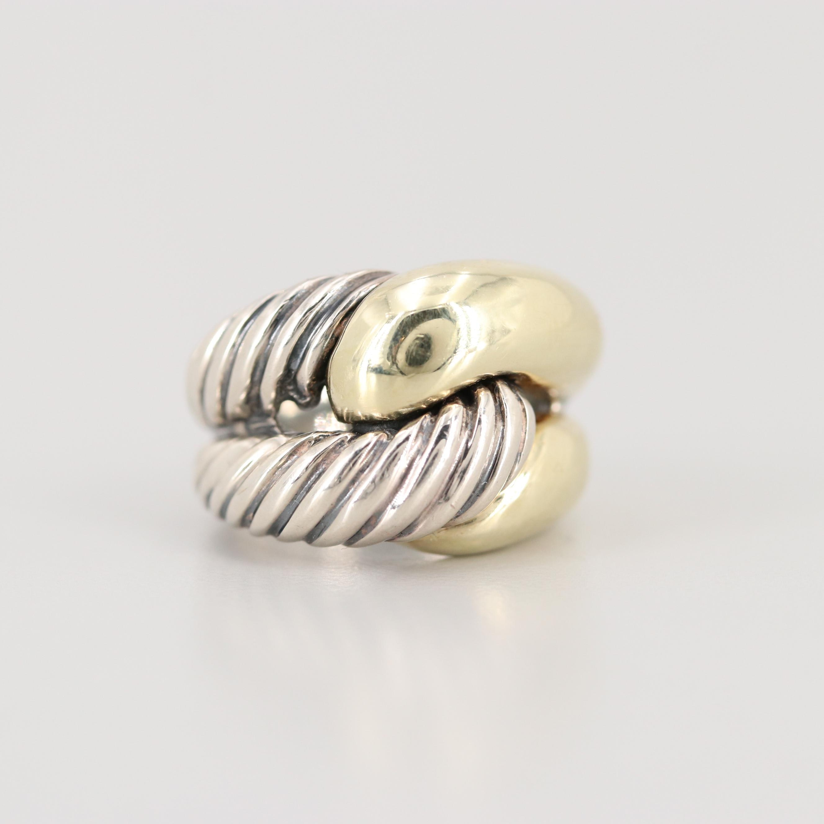 """David Yurman Sterling Silver """"Labyrinth"""" Ring with 14K Yellow Gold Accents"""