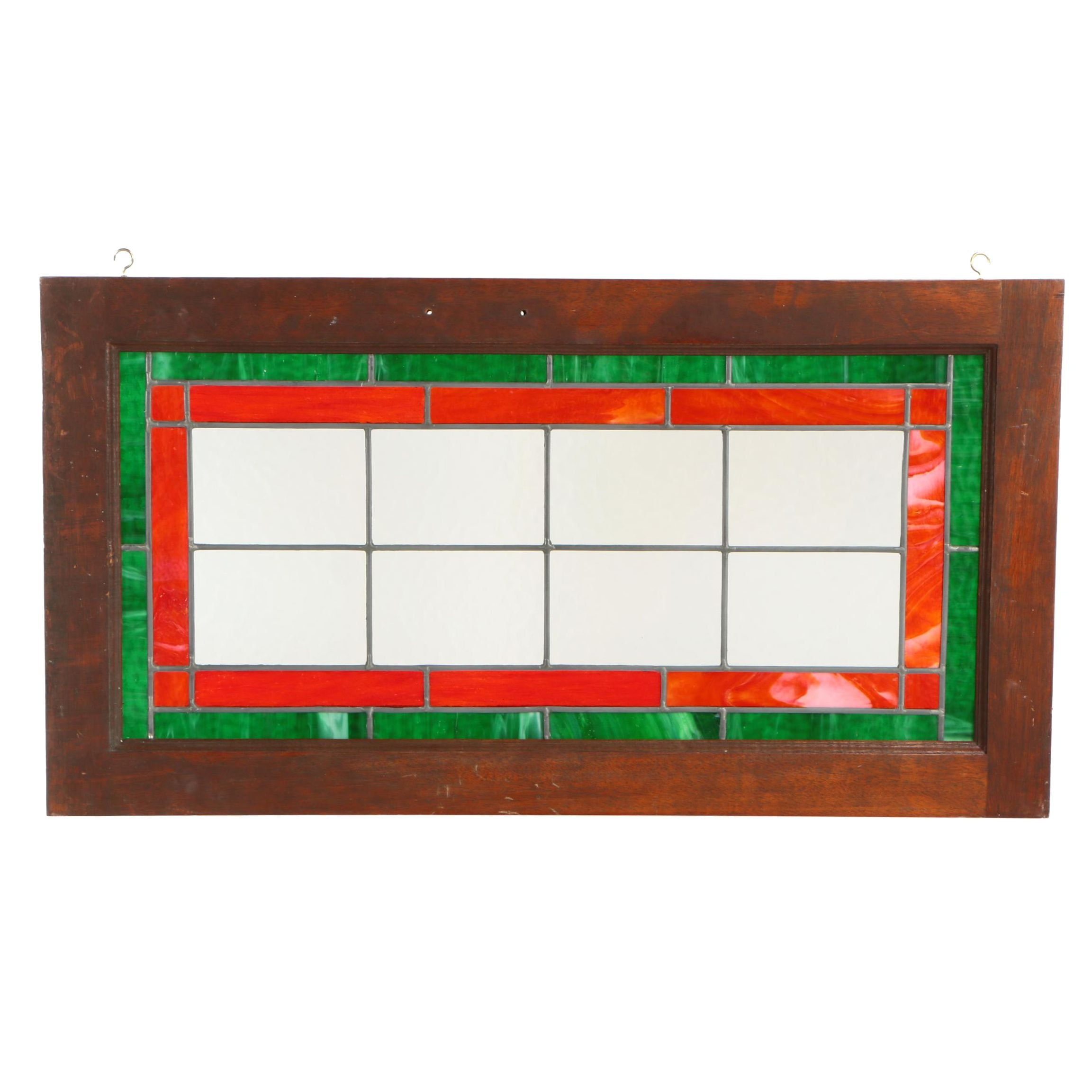 Mahogany-Framed Leaded and Stained Glass Window Panel, 20th Century