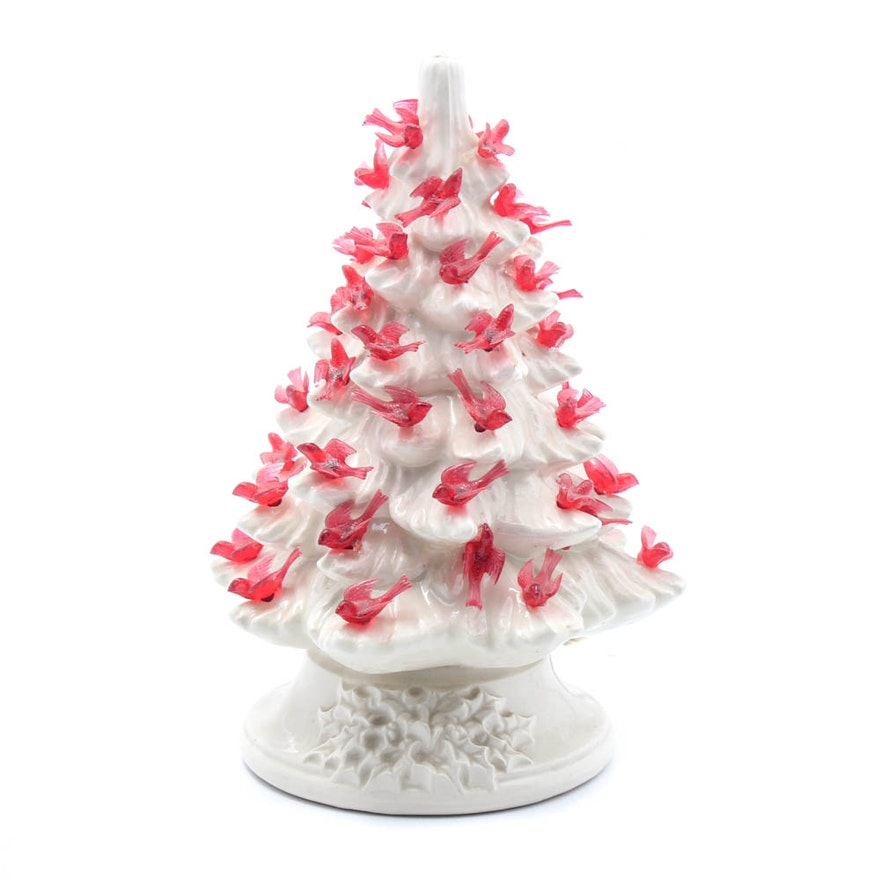 White Ceramic Christmas Tree.Winter White Ceramic Christmas Tree With Dove Lights Mid Century