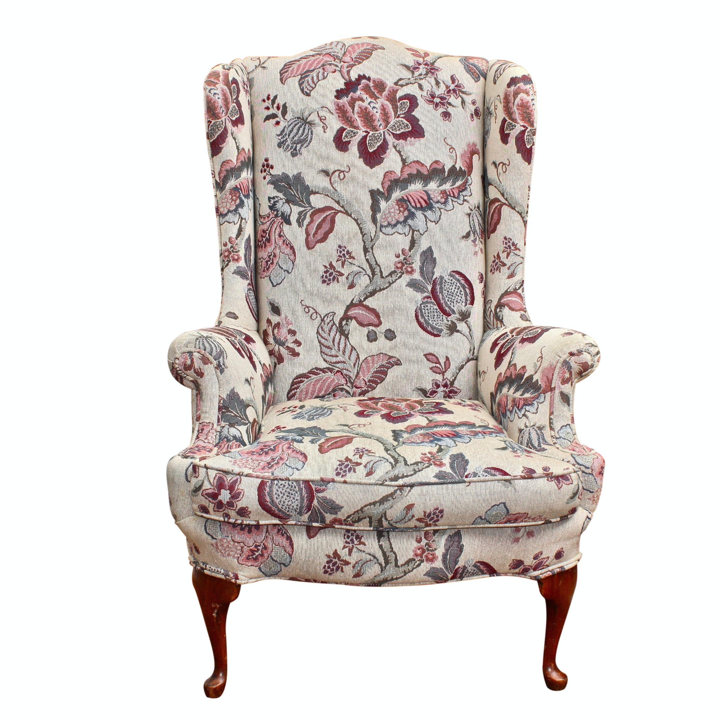 Queen Anne Wingback Arm Chair, 20th Century
