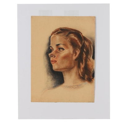 Robert Whitmore Pastel Portrait of a Woman