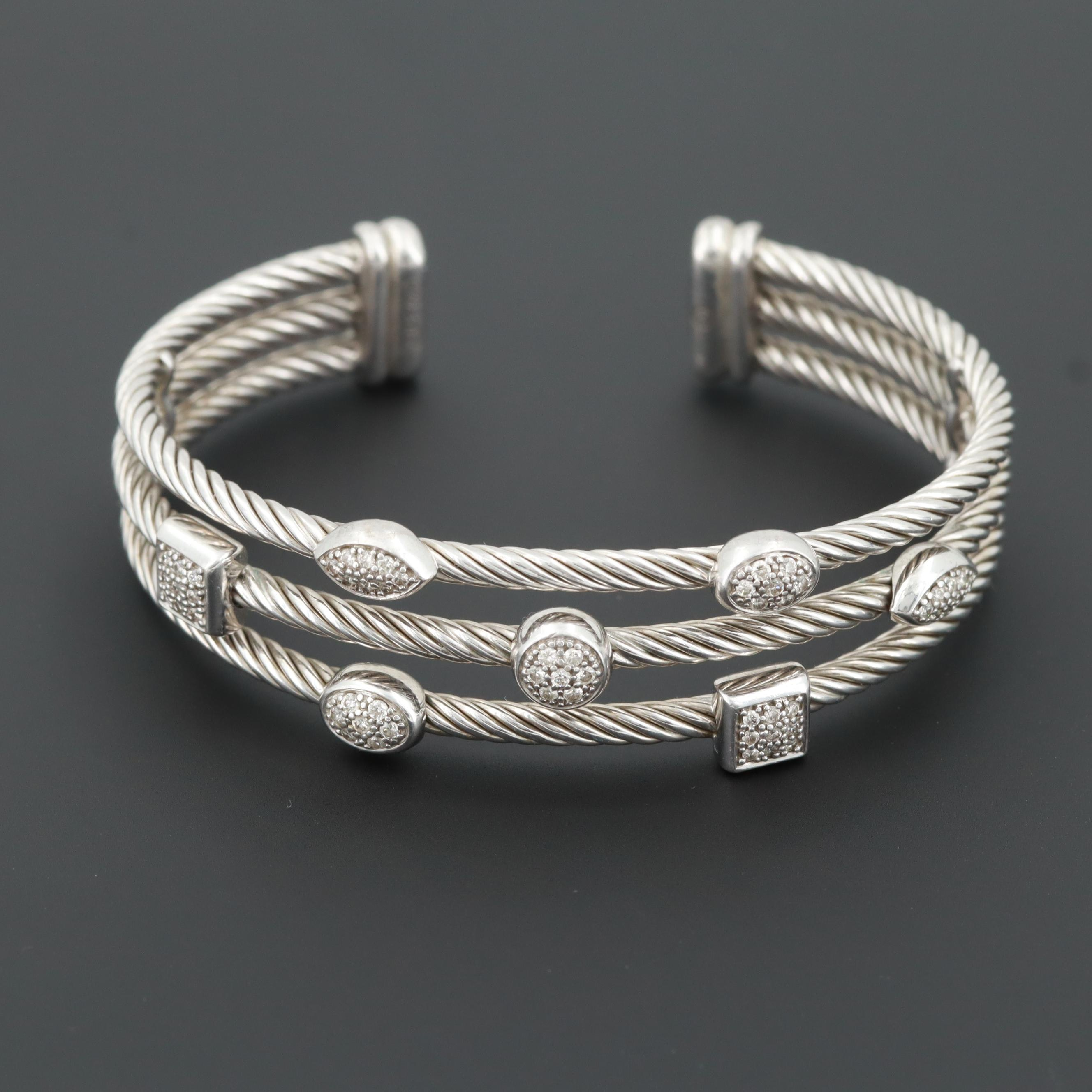 "David Yurman Sterling Silver and Diamond ""Confetti"" Three Row Cuff Bracelet"