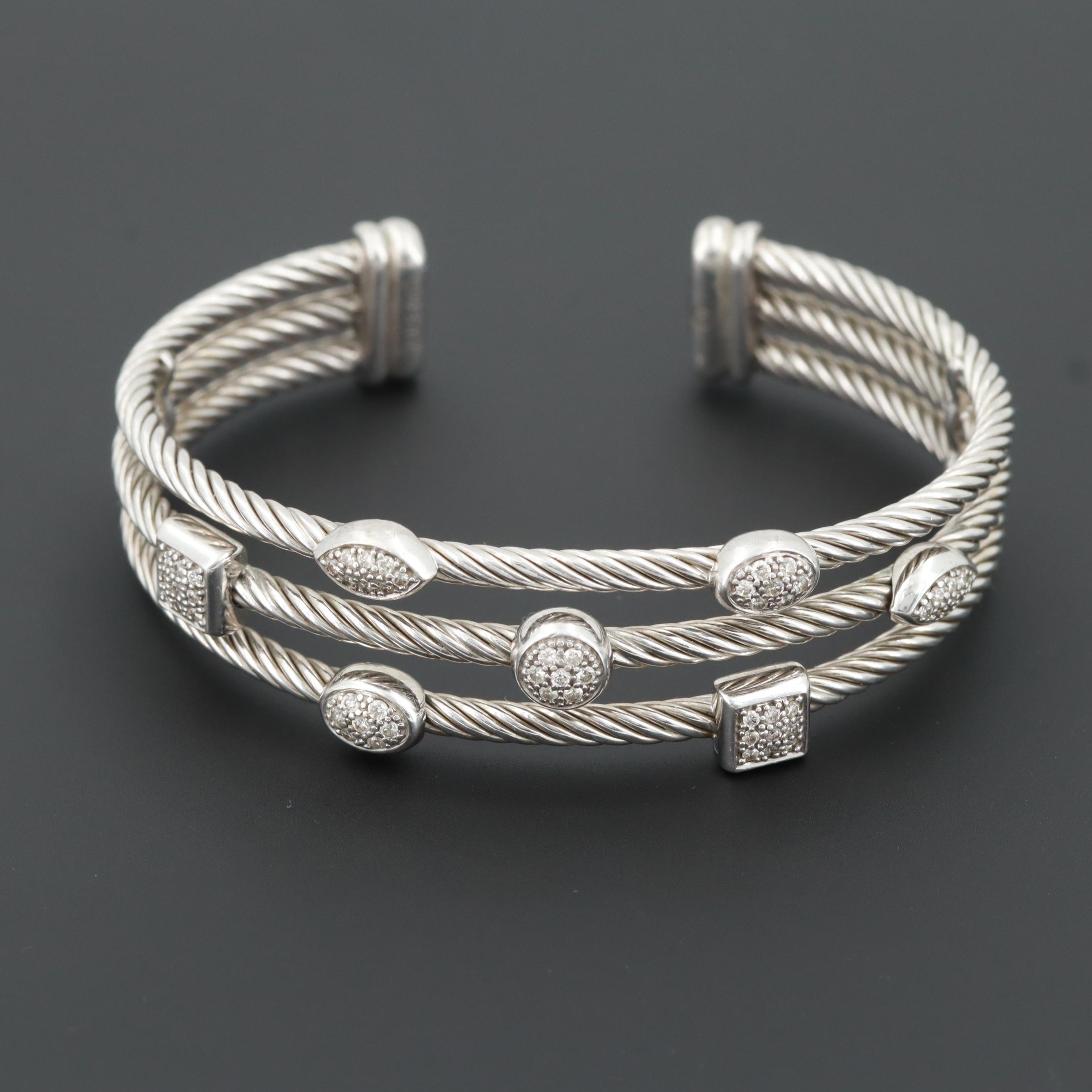 "David Yurman Sterling Silver and Diamond ""Confetti"" Three Row Cuff Bracelet"