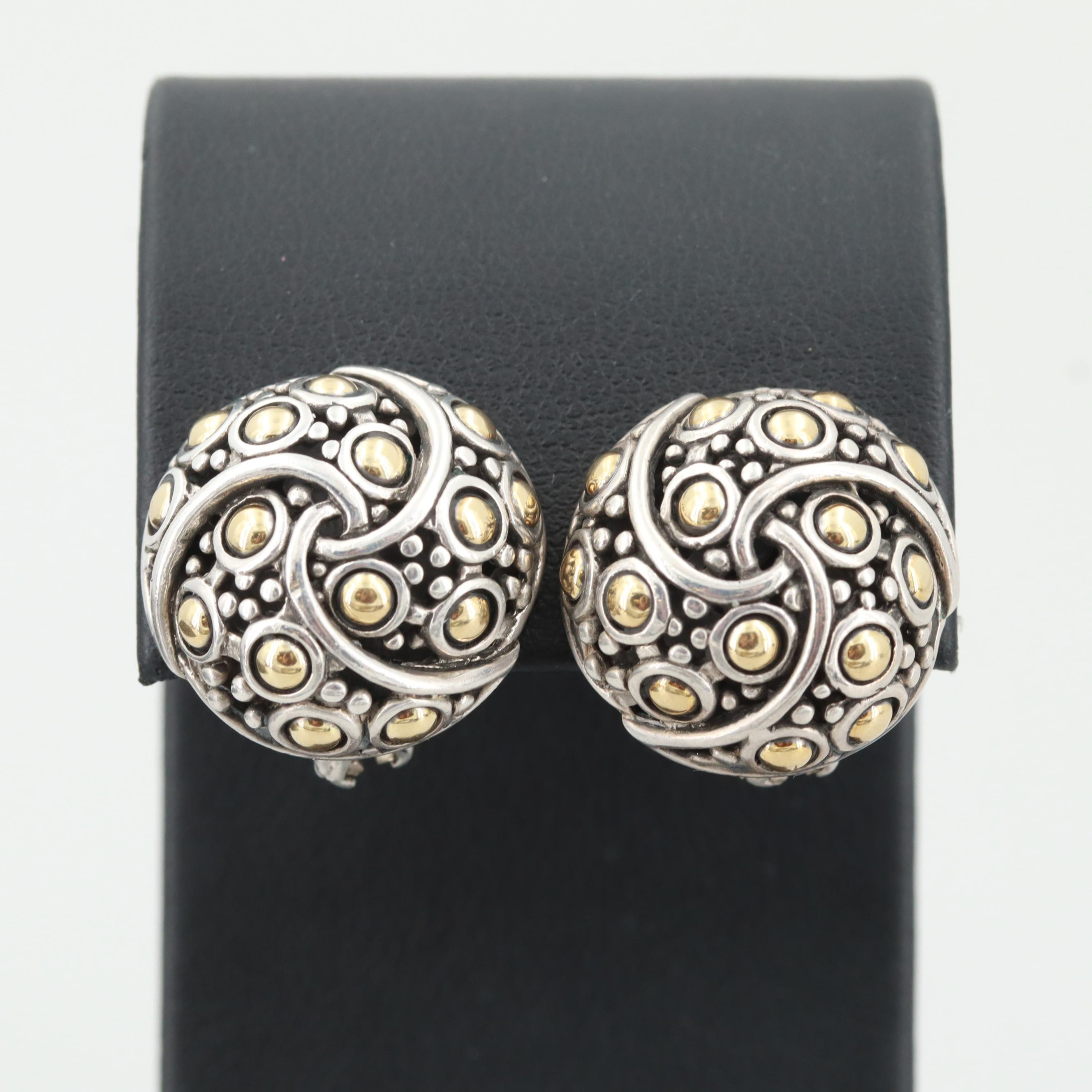 """John Hardy Sterling """"Jaisalmer"""" Twirl Earrings with 18K Yellow Gold Accents"""