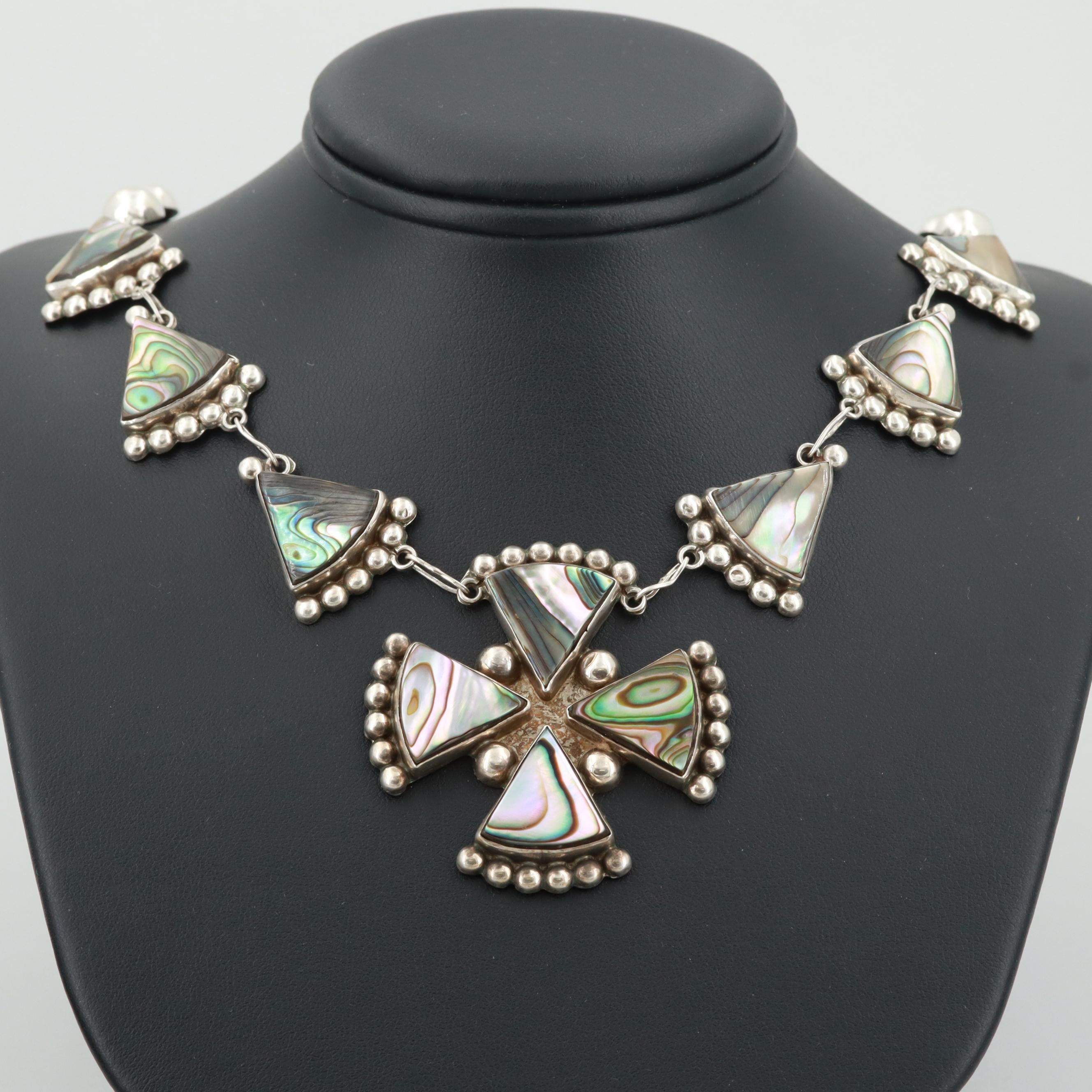 Mexican Silver Abalone Maltese Cross Necklace